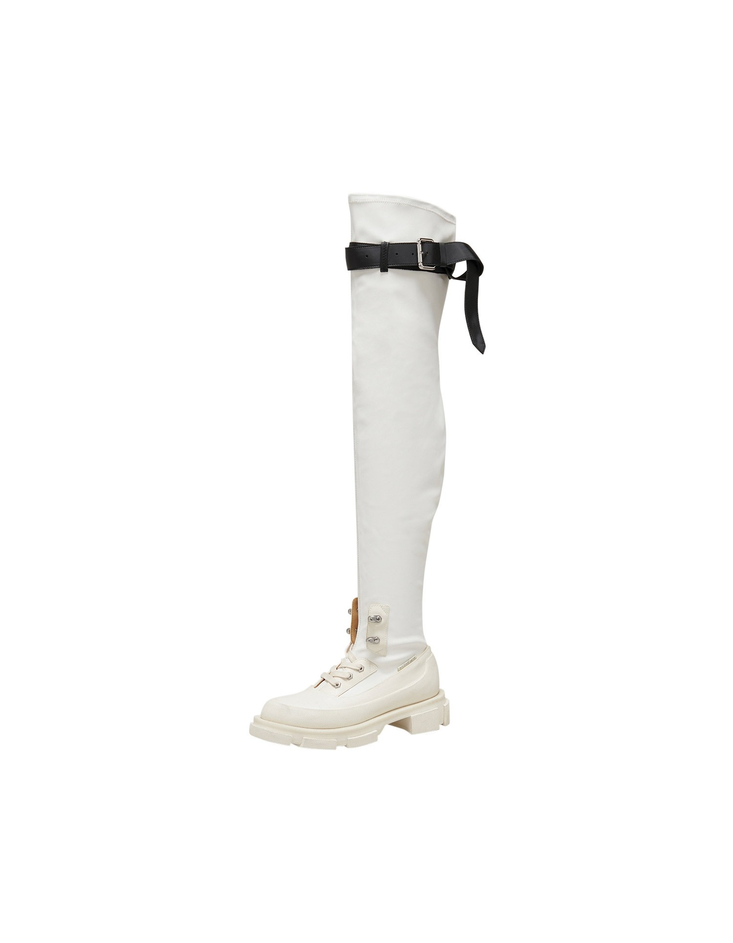 Both x MONSE Gao Thigh High Boots in White and Black Left Side Angle View