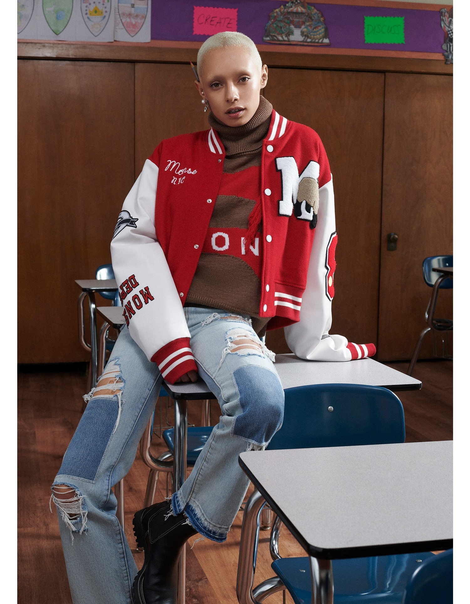 MONSE Cropped Letterman Jacket in White and Scarlet on Model Main Front View