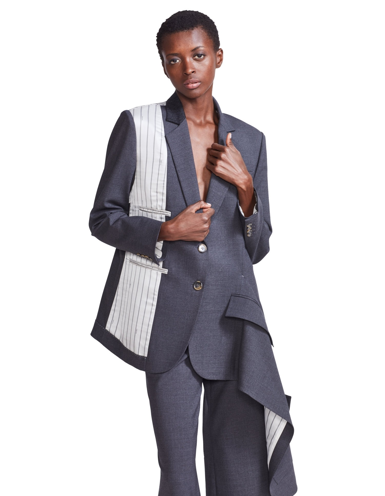 Asymmetrical Double Pocket Draped Blazer