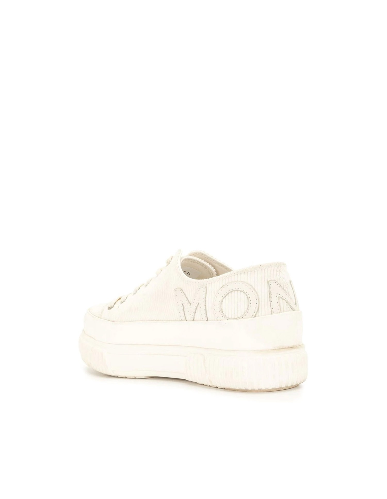 Both X MONSE Classic Platform Shoe in Ivory Angled Back View