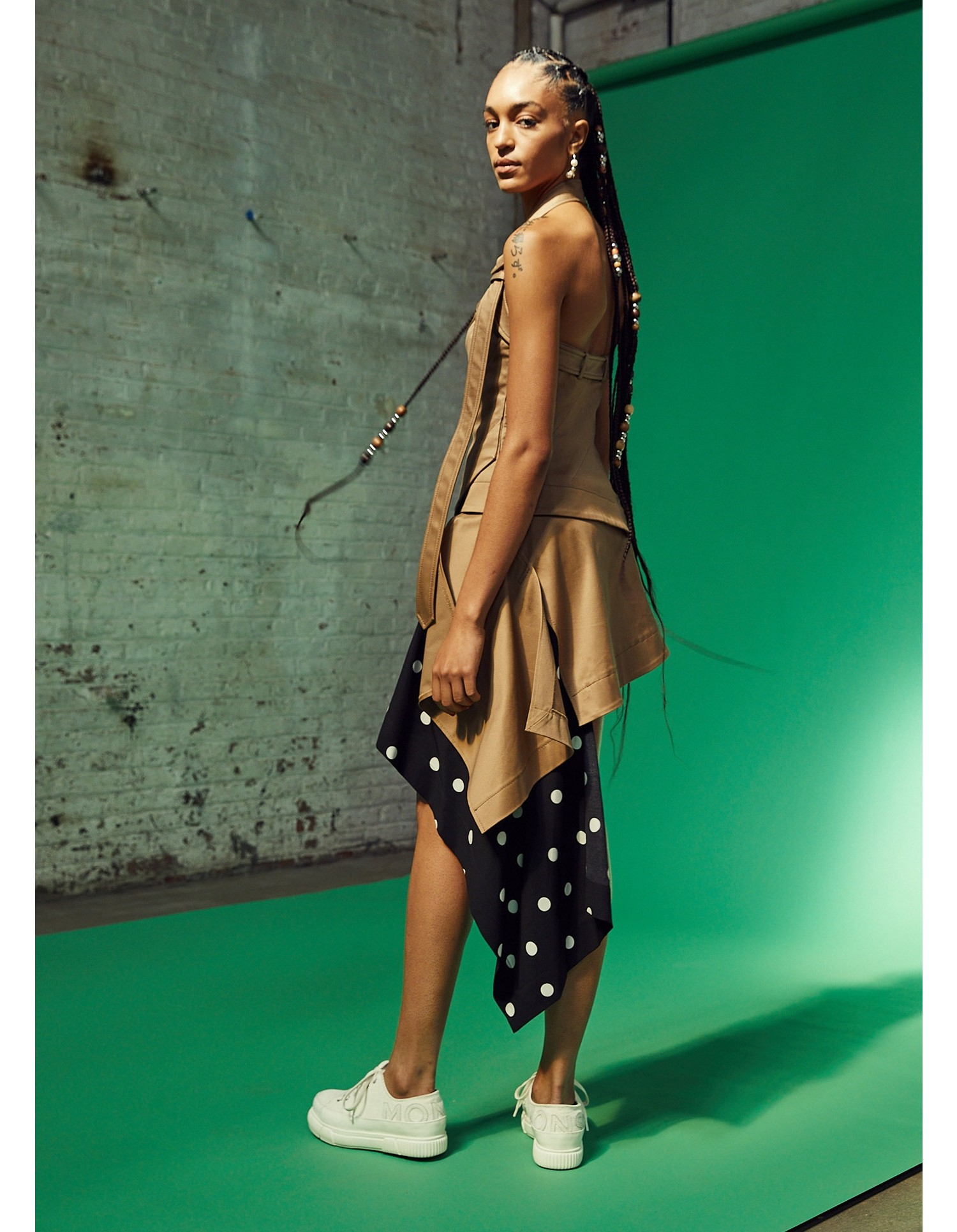 MONSE Cascade Trench and Dot Mini Skirt on Model Side View