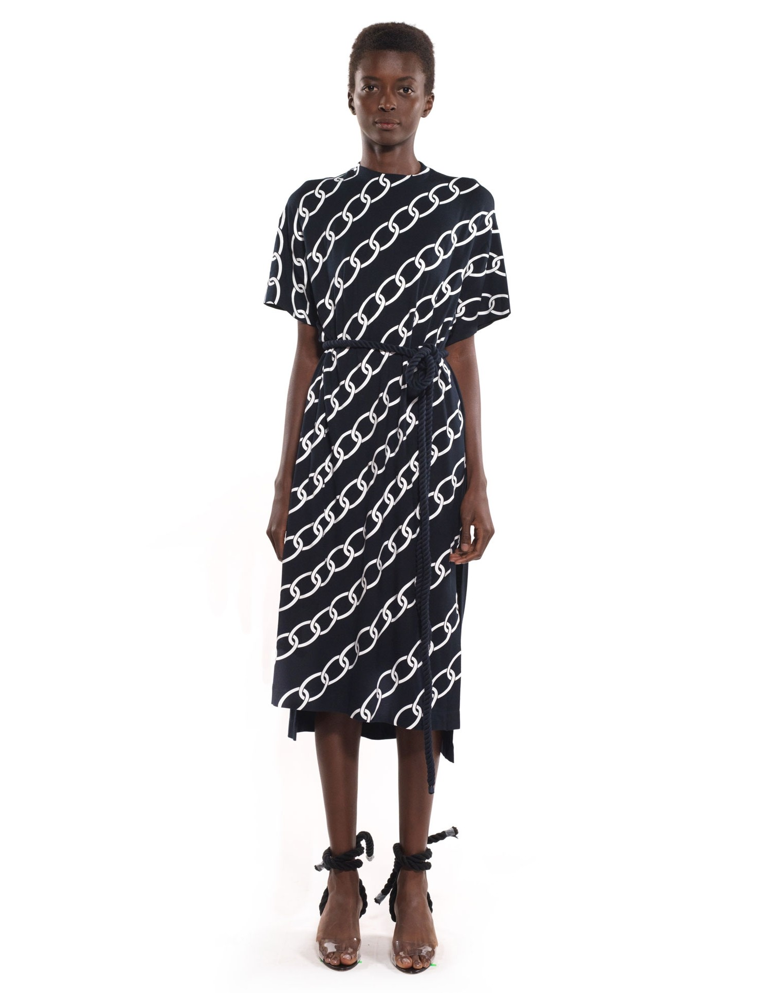 MONSE Chain Print Long Tee on Model Front View