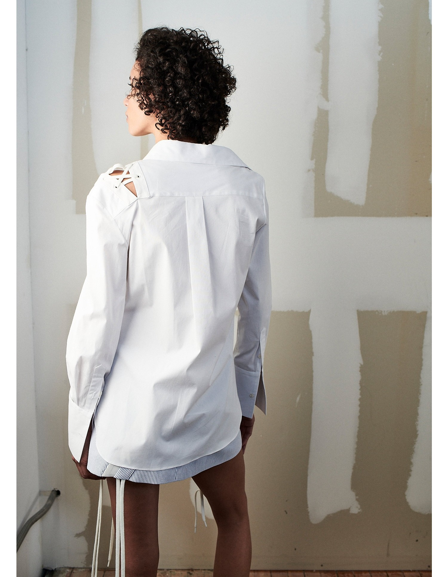 MONSE Crooked Lace Up Shirt on Model Back View