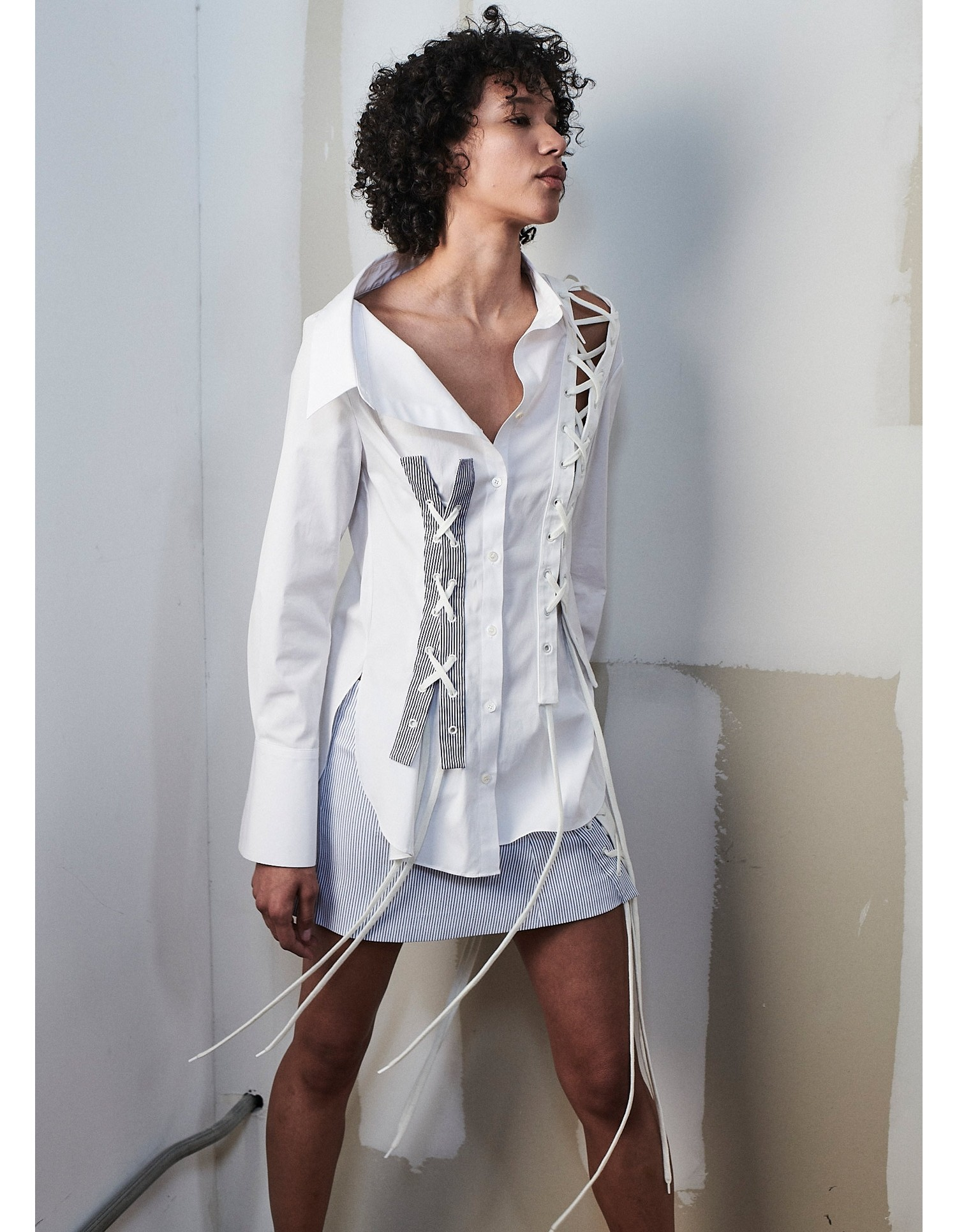 MONSE Crooked Lace Up Shirt on Model Side View