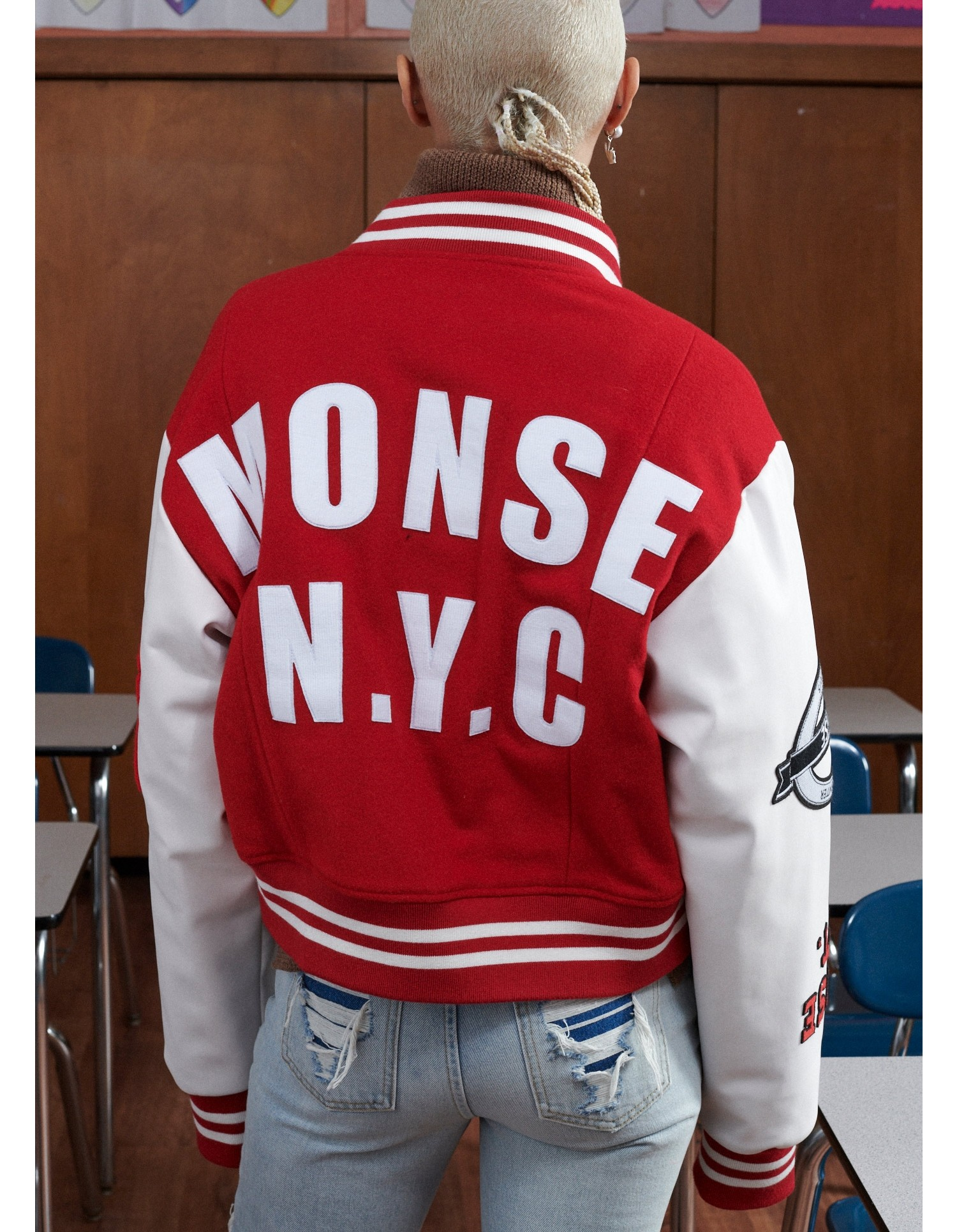 MONSE Cropped Letterman Jacket in White and Scarlet on Model Back View