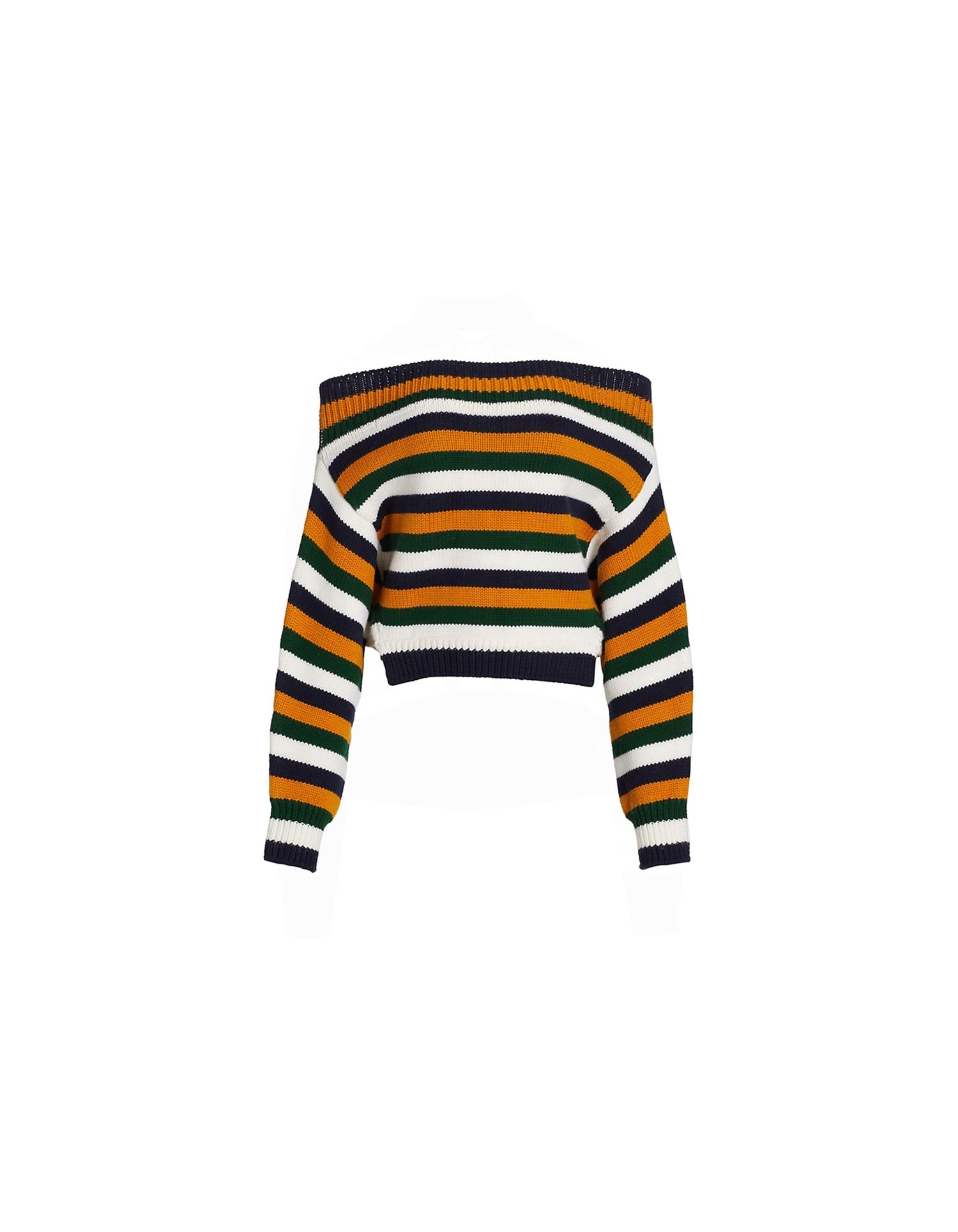 MONSE Cropped Off the Shoulder Sweater Flat Front