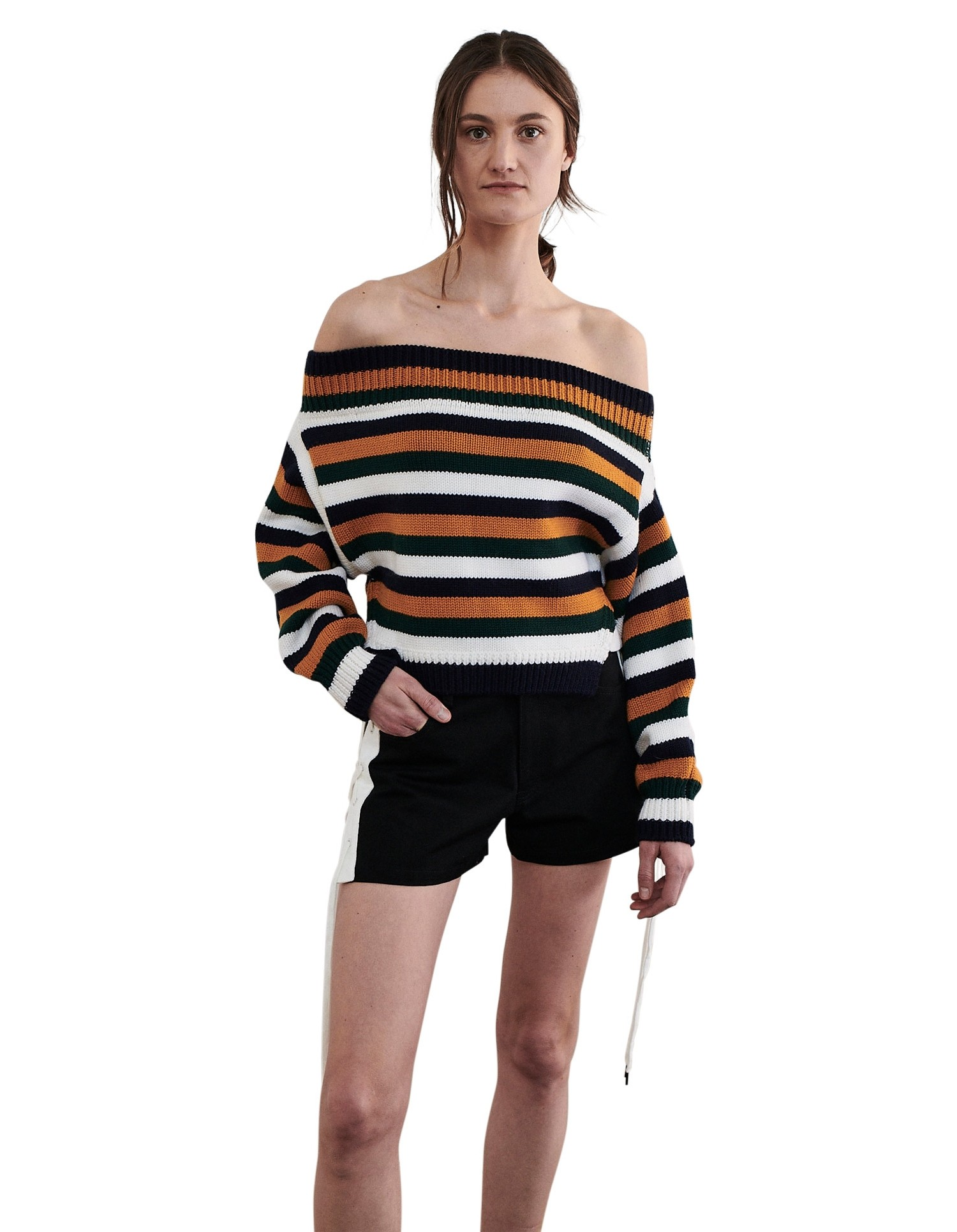 MONSE Cropped Off the Shoulder Sweater on Model Front View