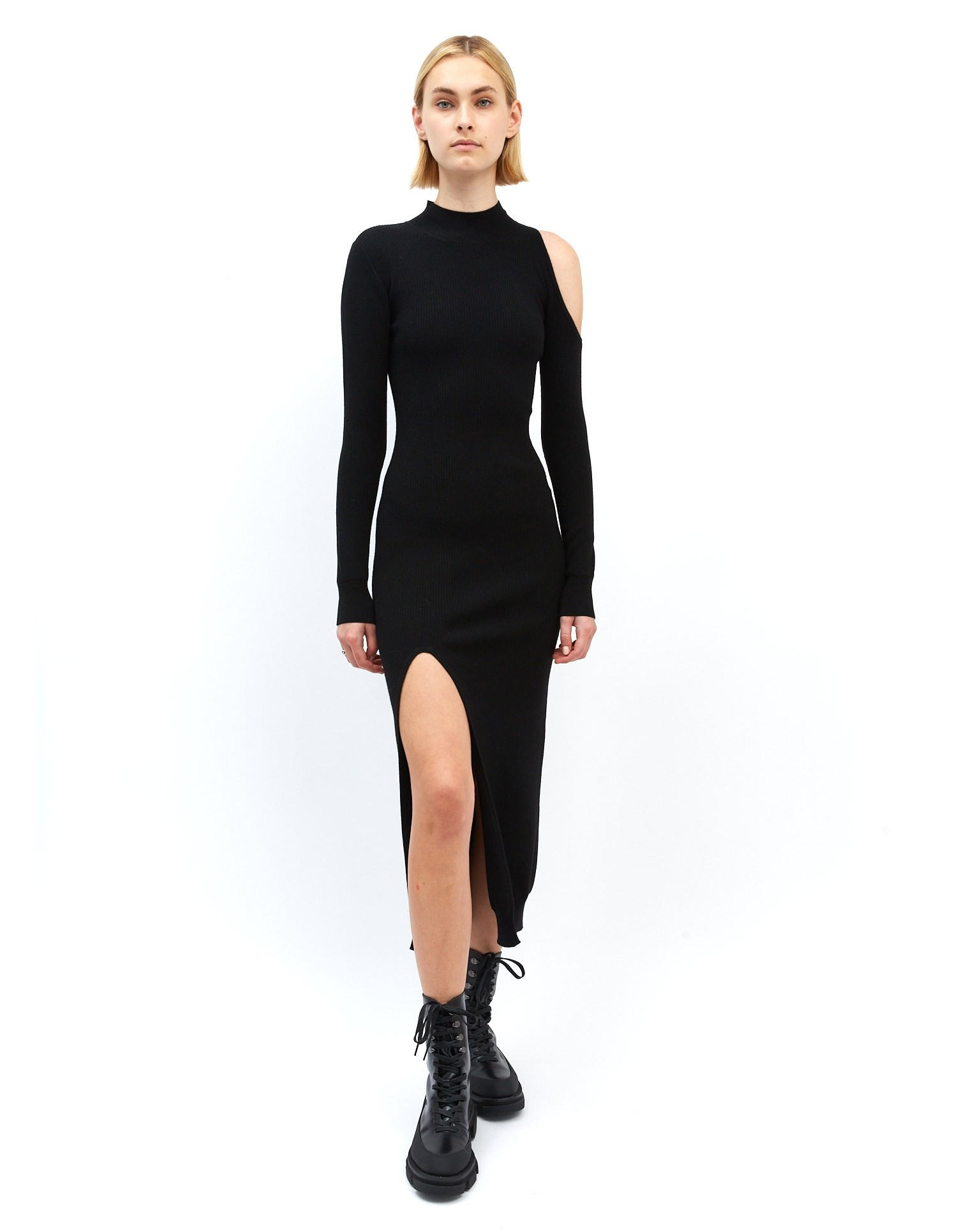 MONSE Cut Out Shoulder Knit Dress in Black on Model Front View