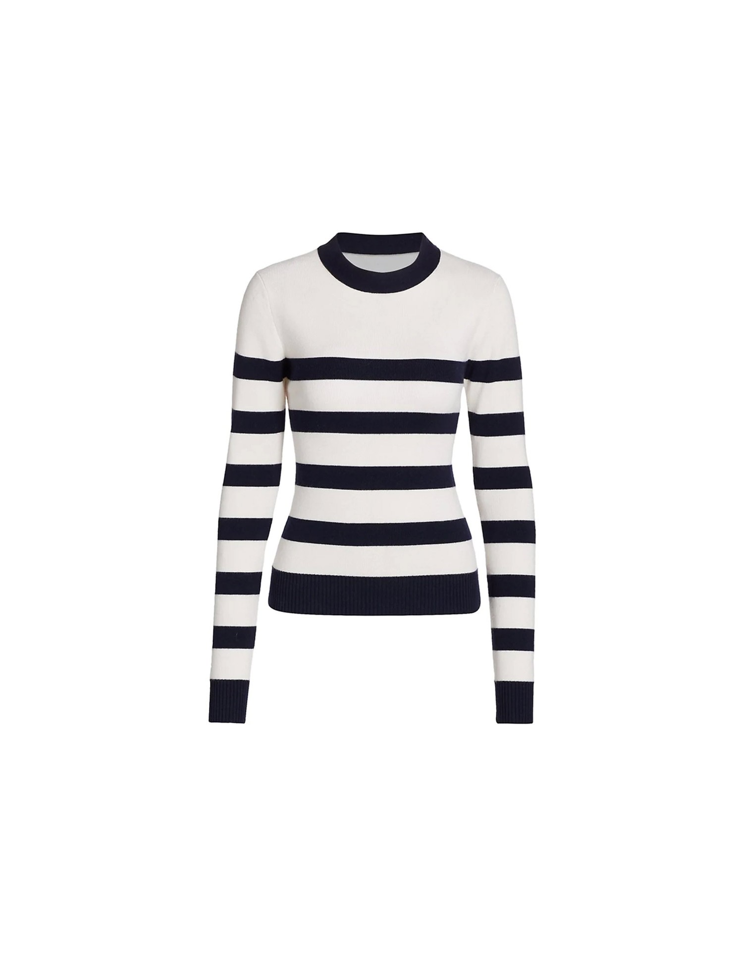 MONSE Cut Out Stripe Knit Top in Midnight and Ivory Flat Front