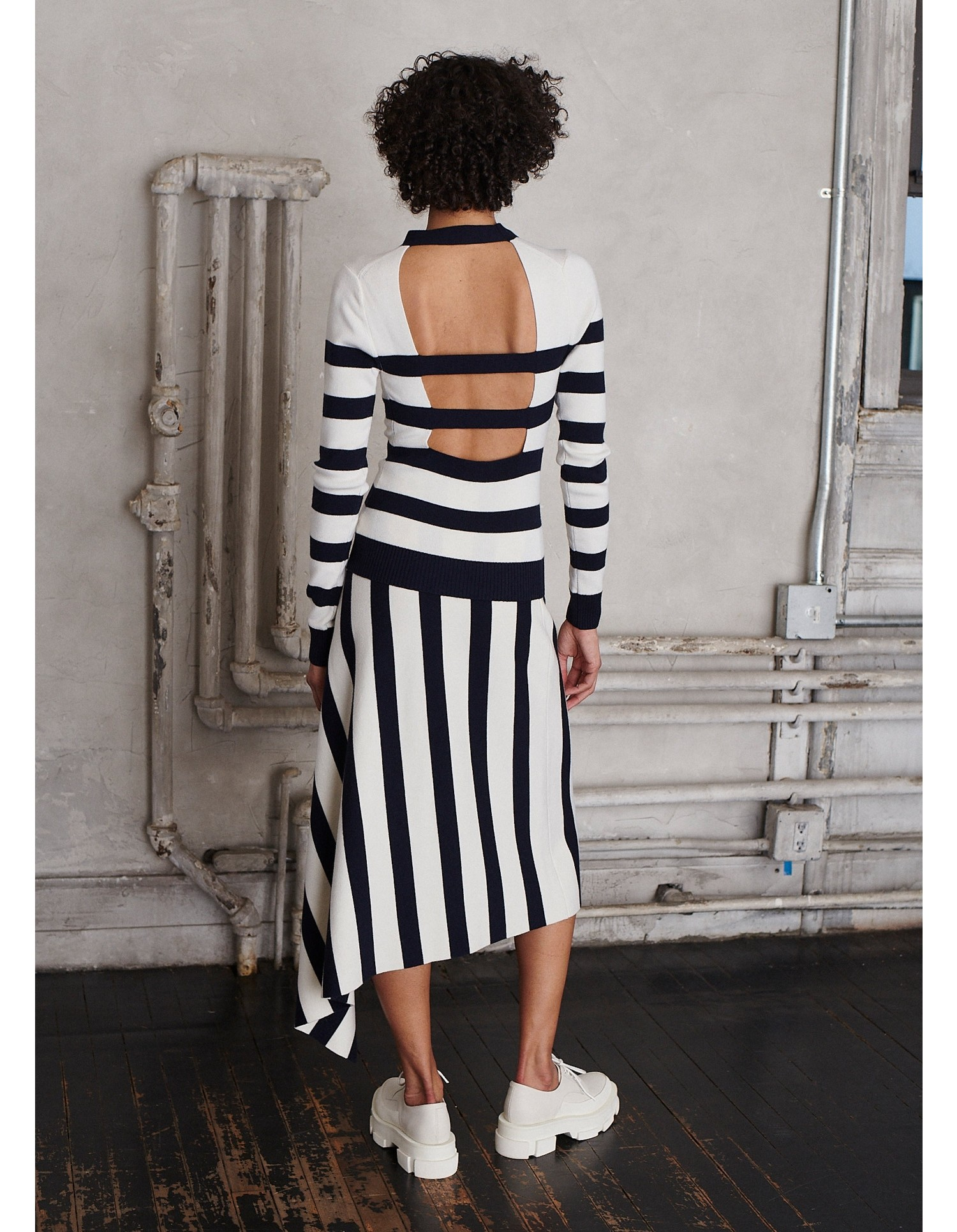 MONSE Cut Out Stripe Knit Top in Midnight and Ivory on Model Back View