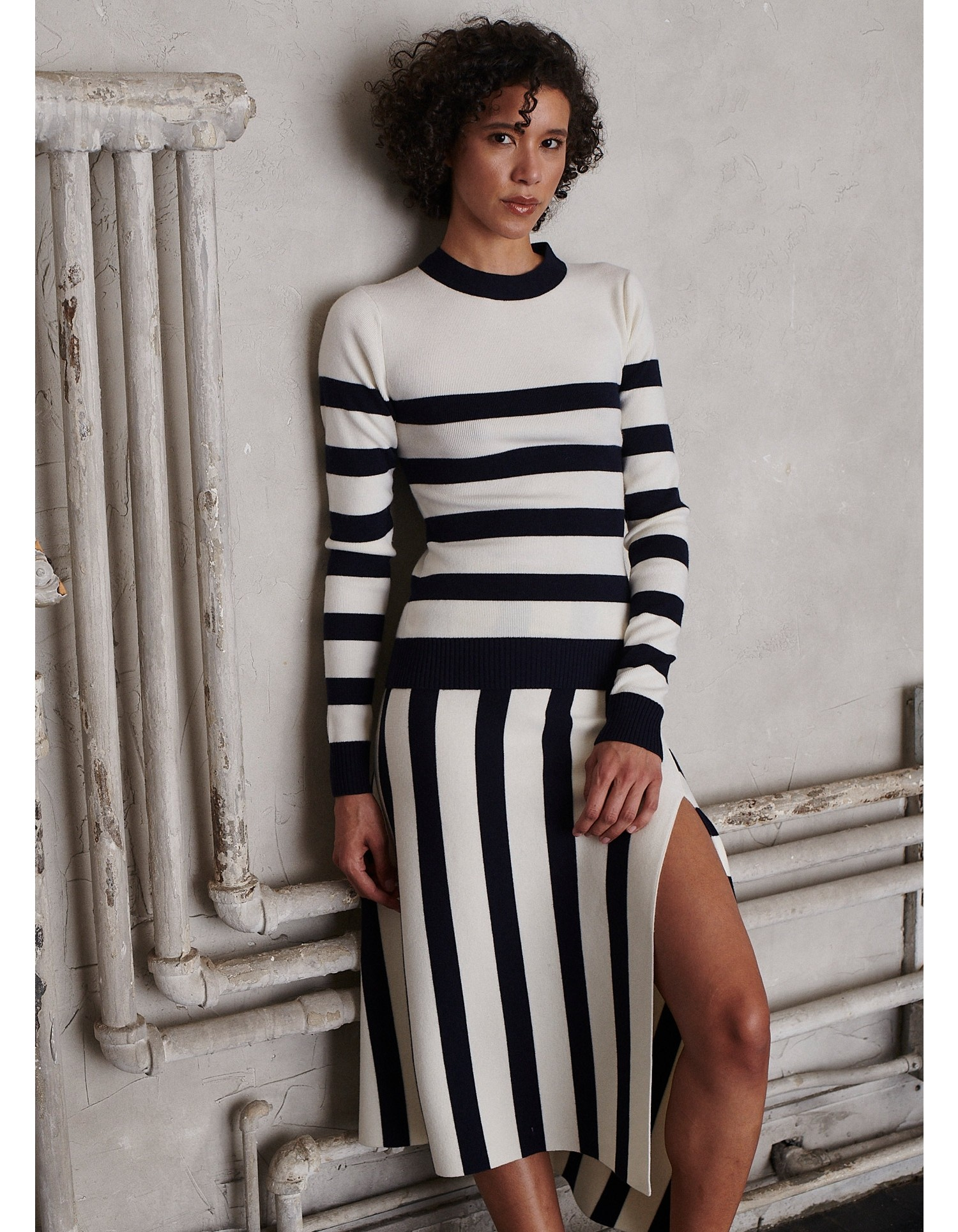 MONSE Cut Out Stripe Knit Top in Midnight and Ivory on Model Front View