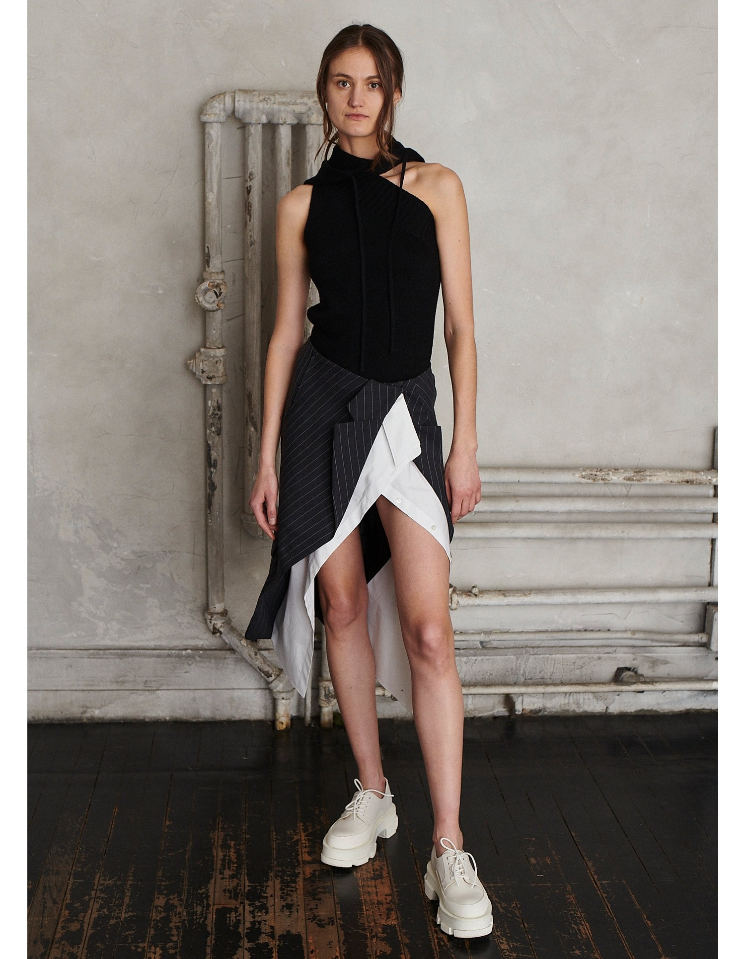 MONSE Deconstructed Jacket and Shirt Skirt on Model Front View