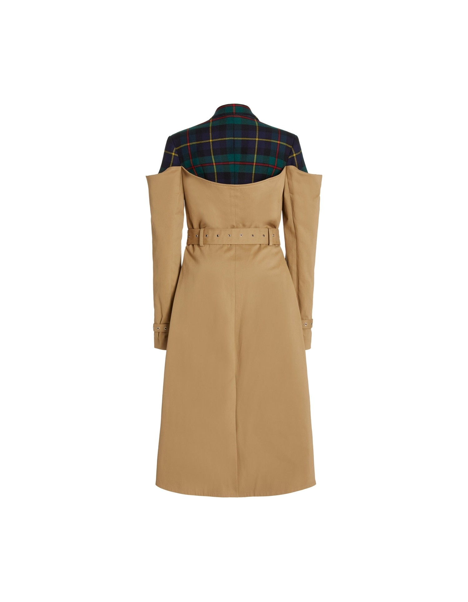 MONSE Deconstructed Trench Coat in Khaki and Multi Plaid Flat Back