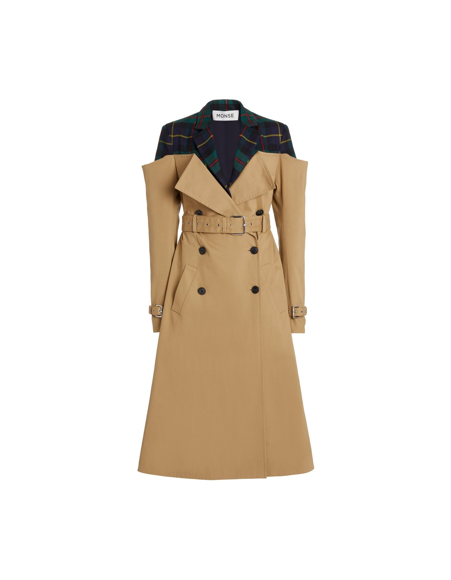 MONSE Deconstructed Trench Coat in Khaki and Multi Plaid Flat Front