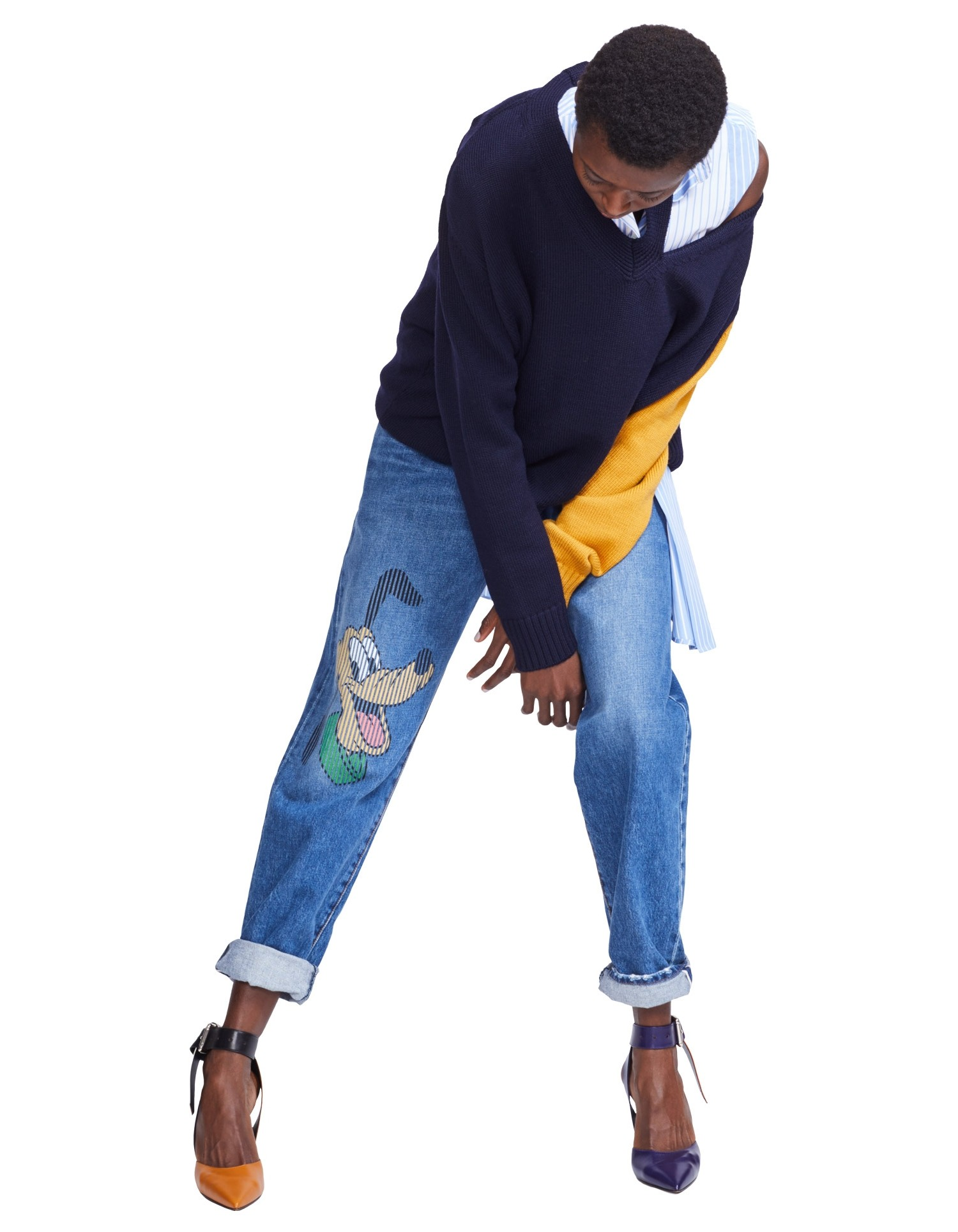 MONSE Disney Denim Straight Leg with Pluto Print on Model Front