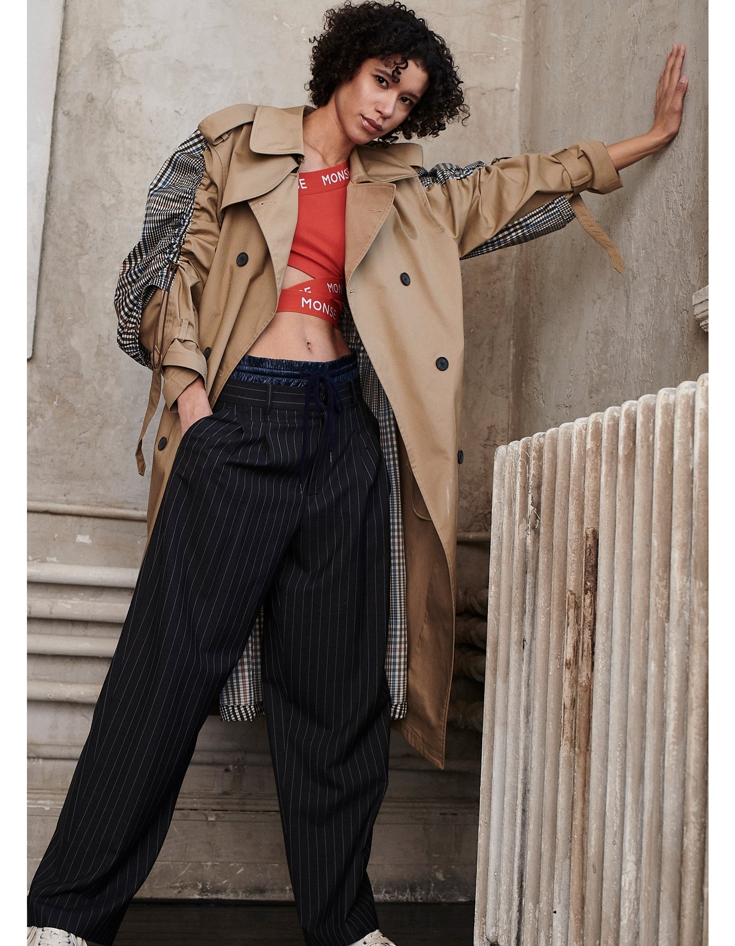 MONSE Double Waistband Drawstring Trouser on Model Front View