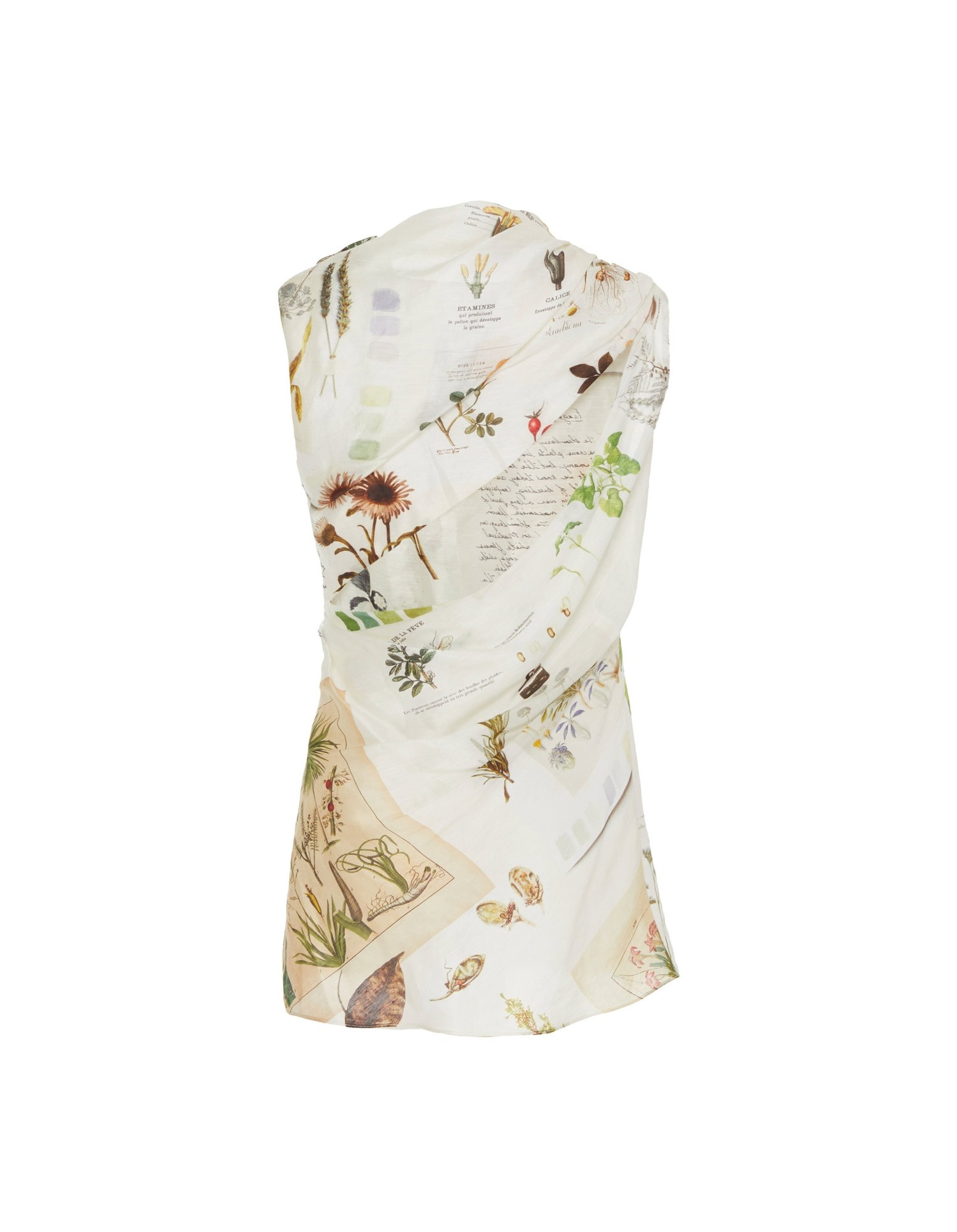 MONSE Draped Botanical Journal Top Flat Back