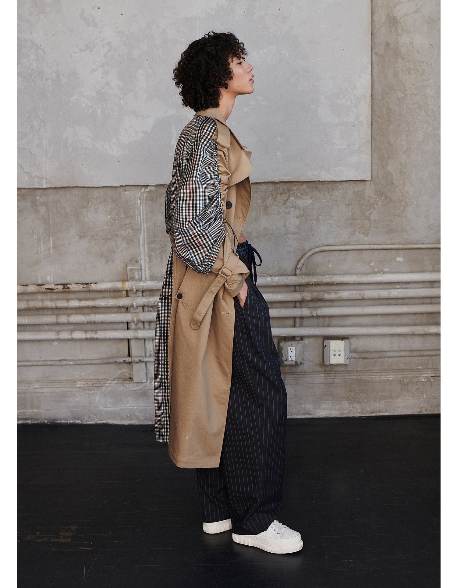 MONSE Drawstring Plaid Trench Coat on Model Side View