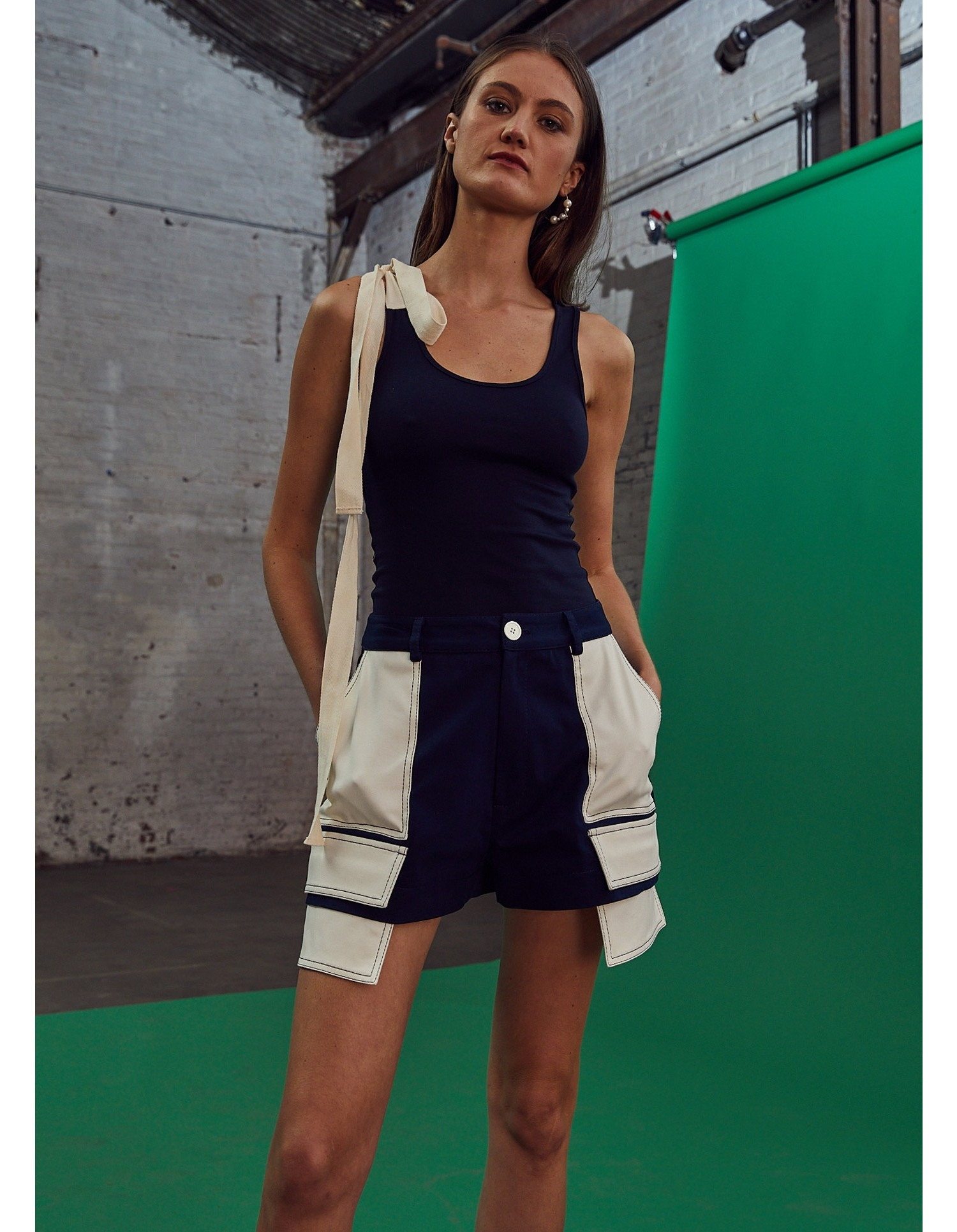 MONSE Extended Patch Pocket Shorts in Midnight and Ivory on Model Front View
