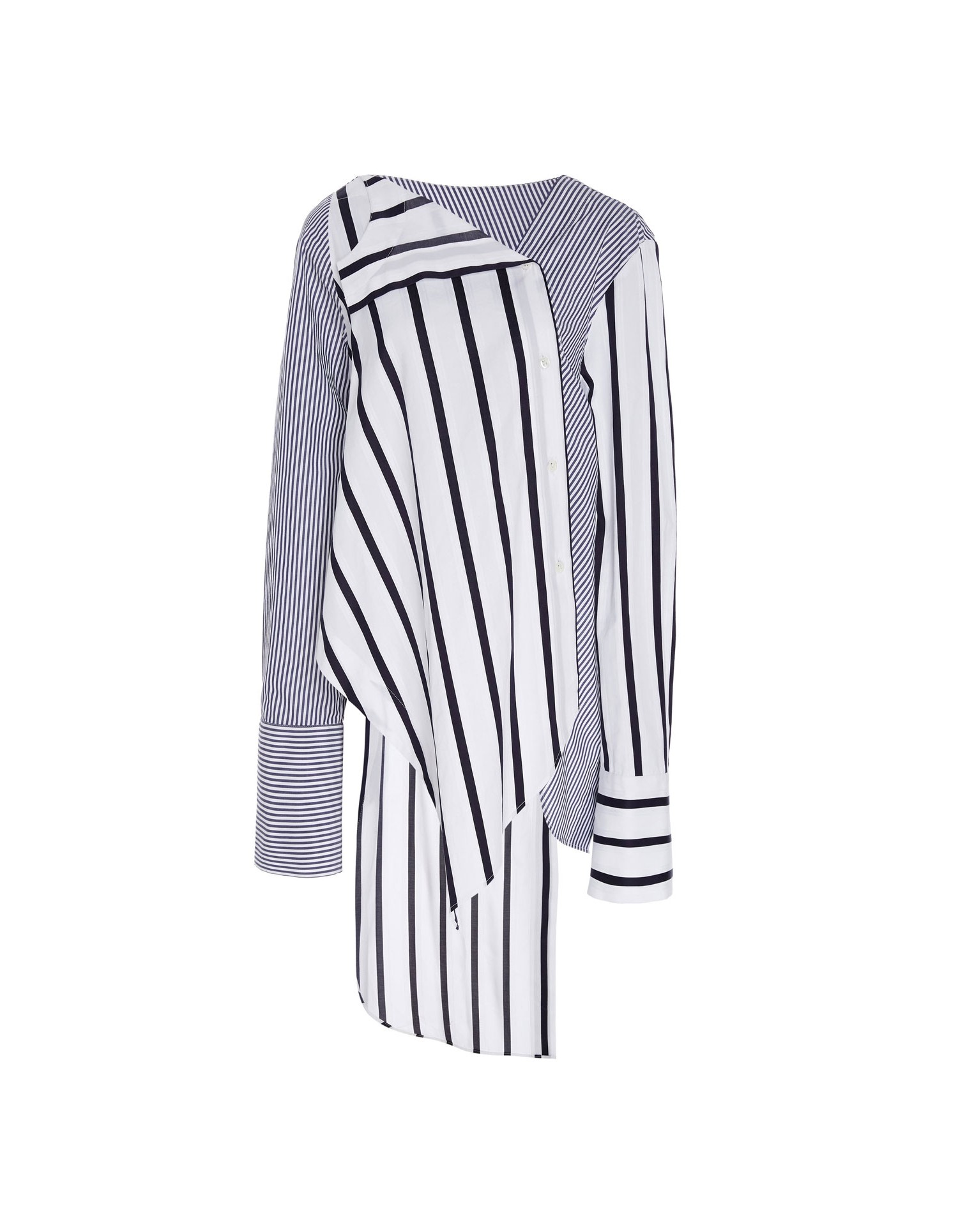 MONSE Falling Contrast Stripes Shirt Flat Front
