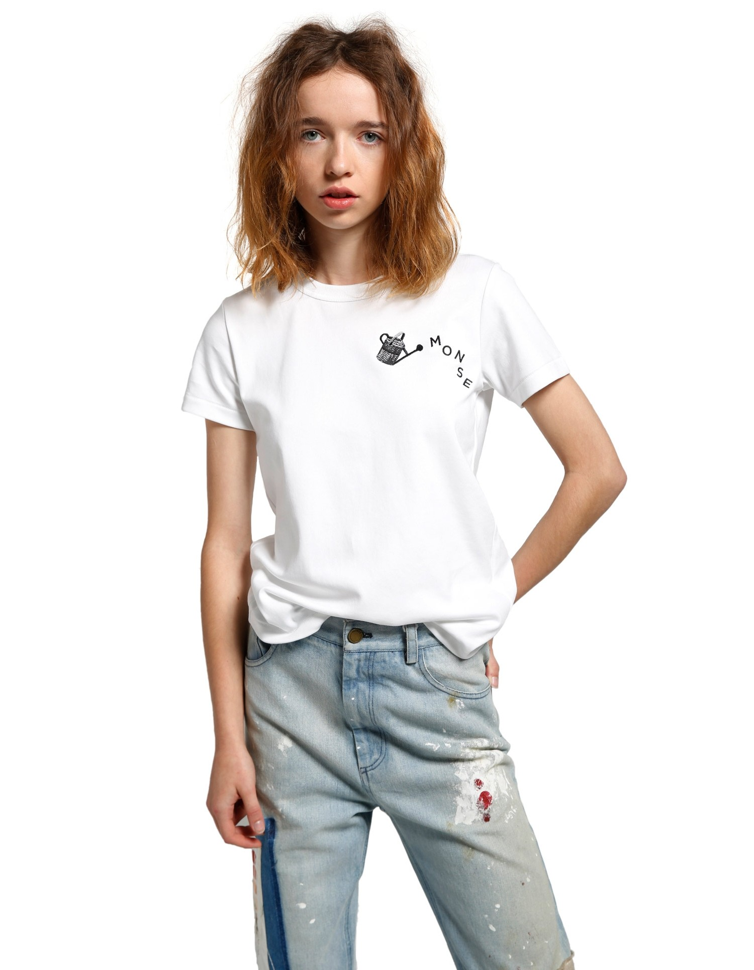 MONSE Fitted Embroidered Watering Can Tee on Model Front View