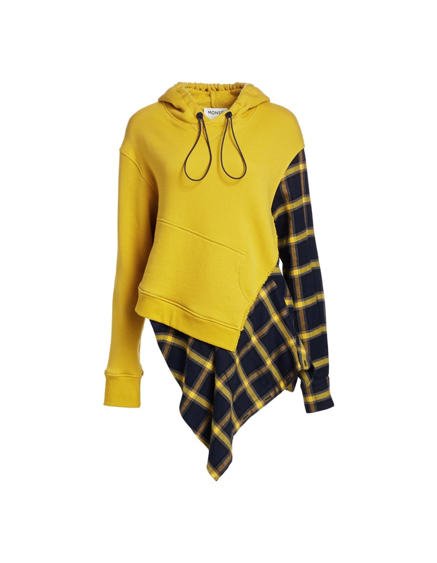 MONSE Flannel Cascade Hoodie Flat Front