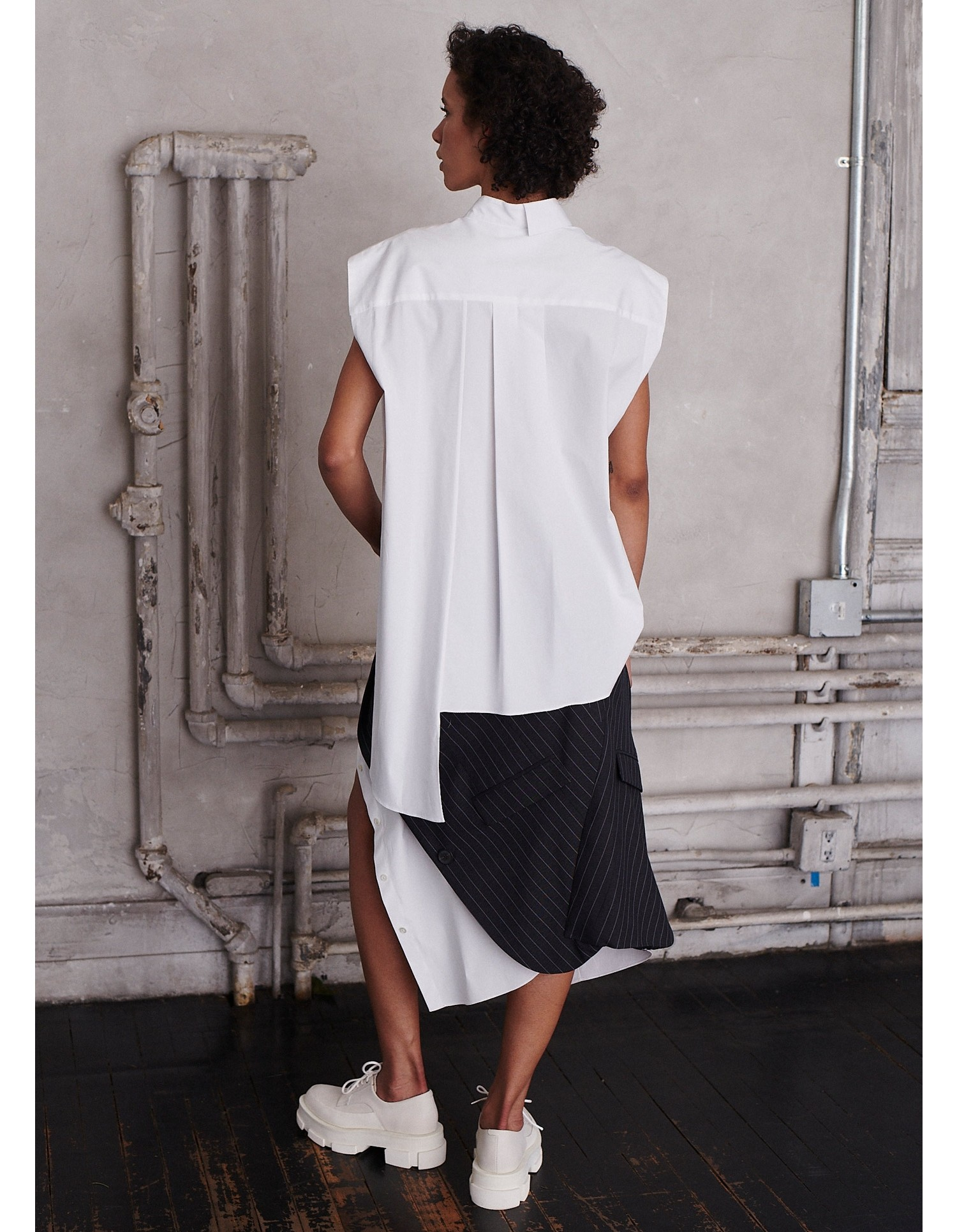 MONSE Half and Half Sleeveless Shirt in White on Model Back View