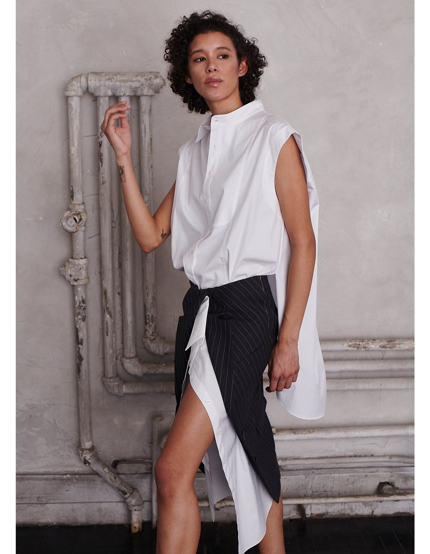 MONSE Half and Half Sleeveless Shirt in White on Model Side View