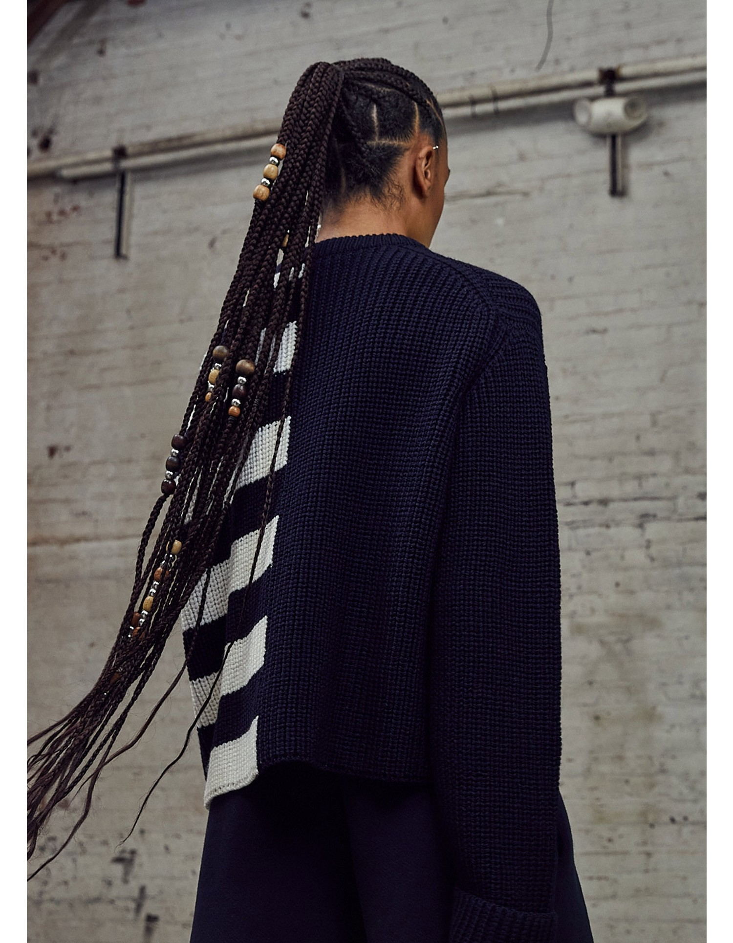 MONSE Half Stripe Cable Sweater in Midnight and Ivory on Model Back View