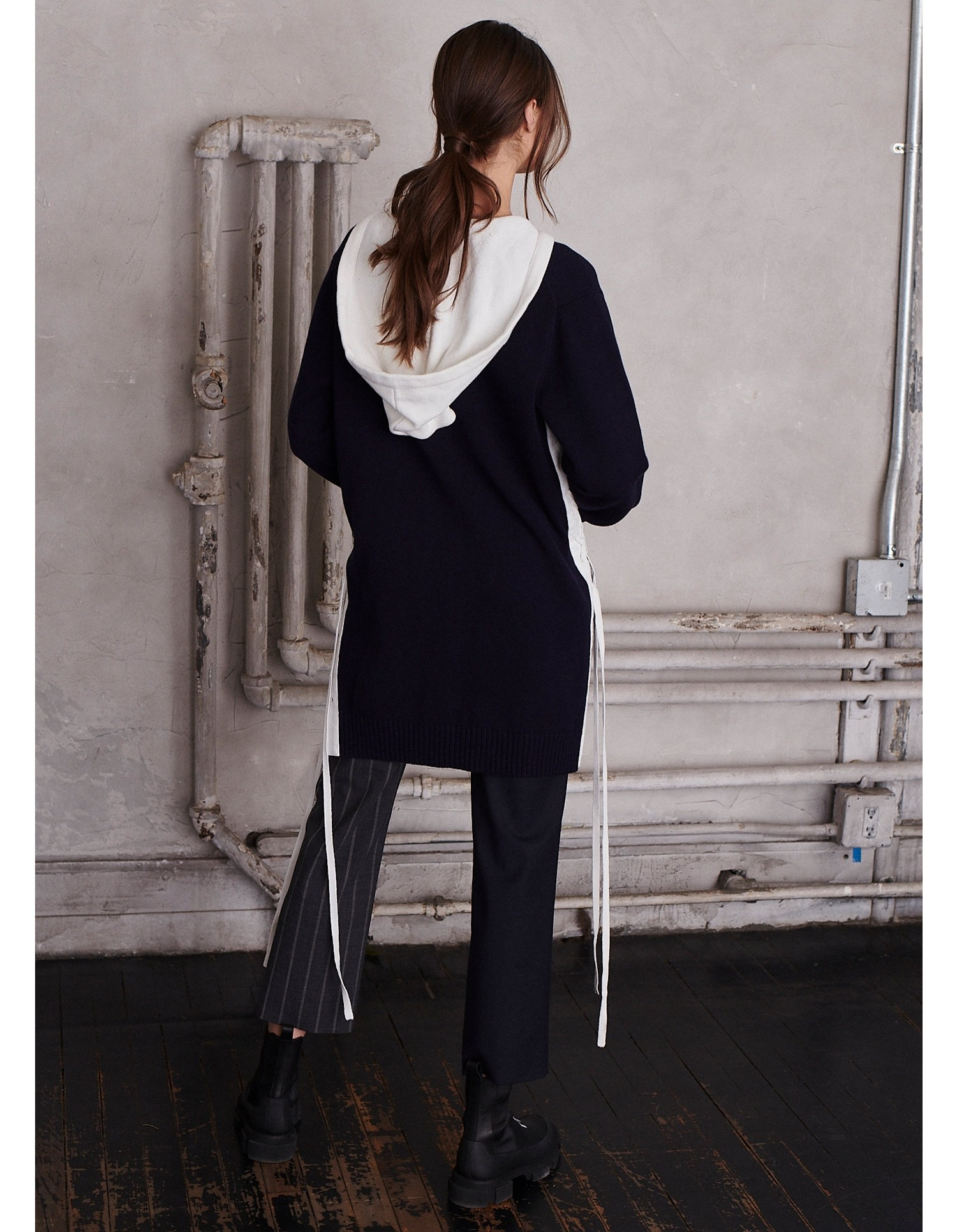 MONSE Hooded Lace Up Cardigan on Model Back View