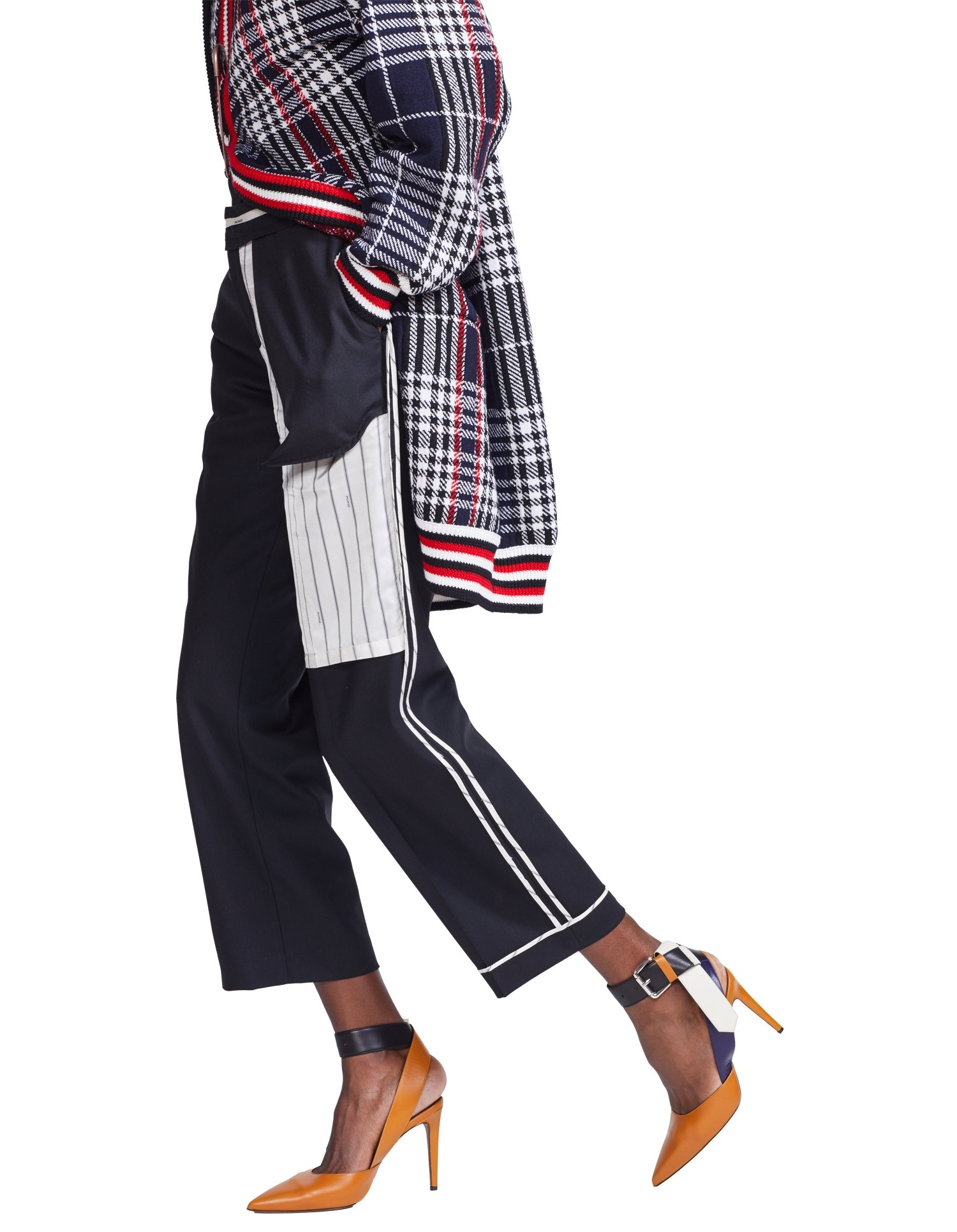 MONSE Inside Out Pinstripe Pocket Pant on Model Side View