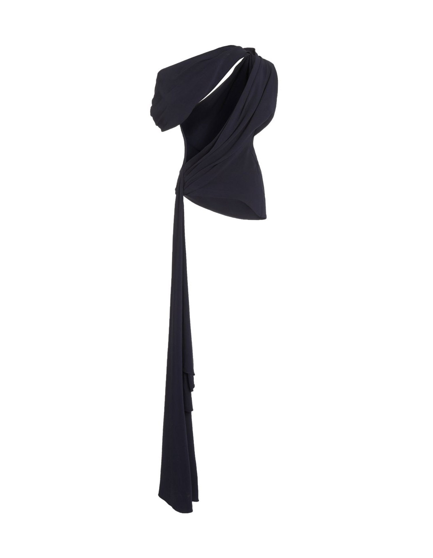 MONSE Knotted Shoulder Drape Top in Midnight Flat Back