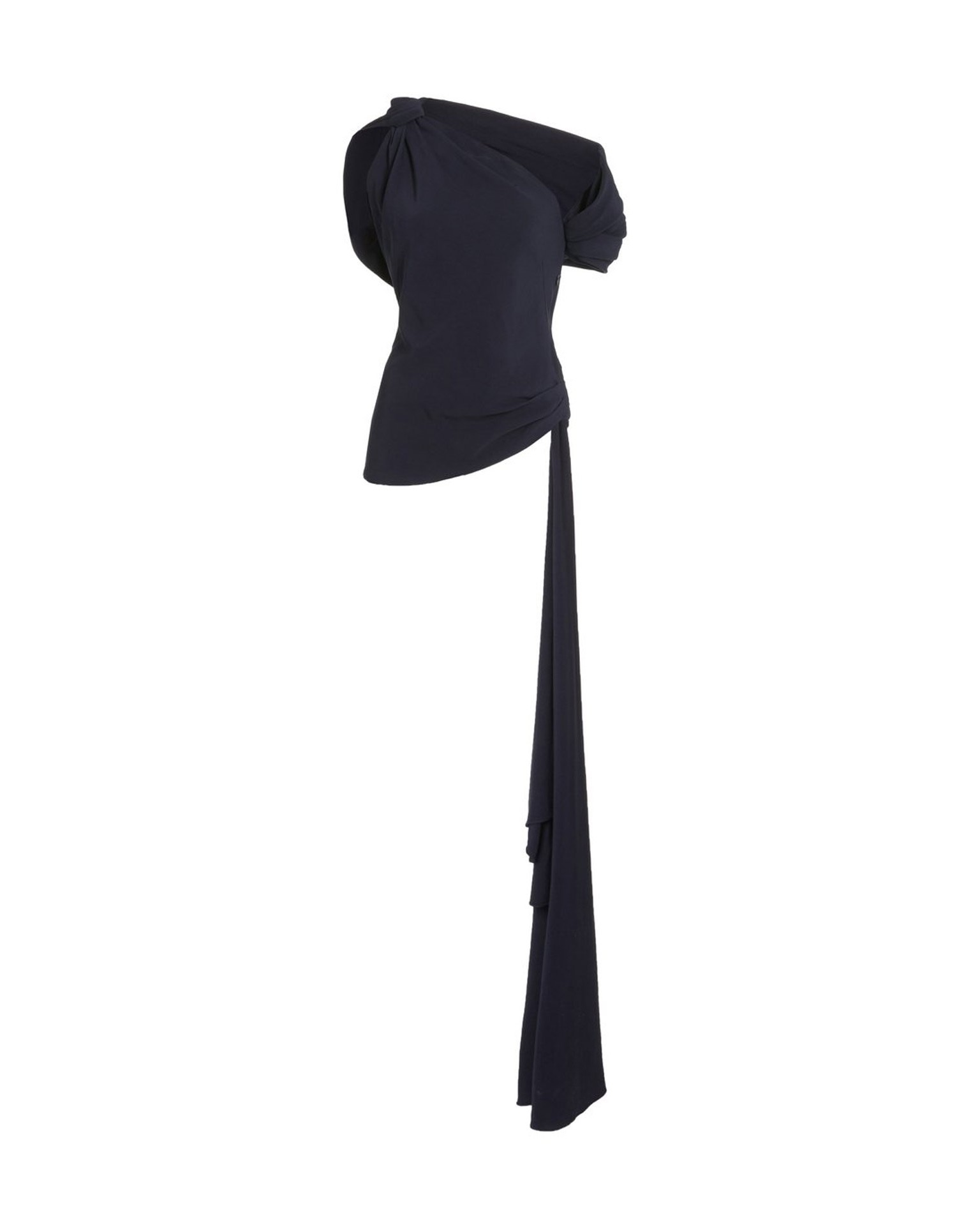 MONSE Knotted Shoulder Drape Top in Midnight Flat Front