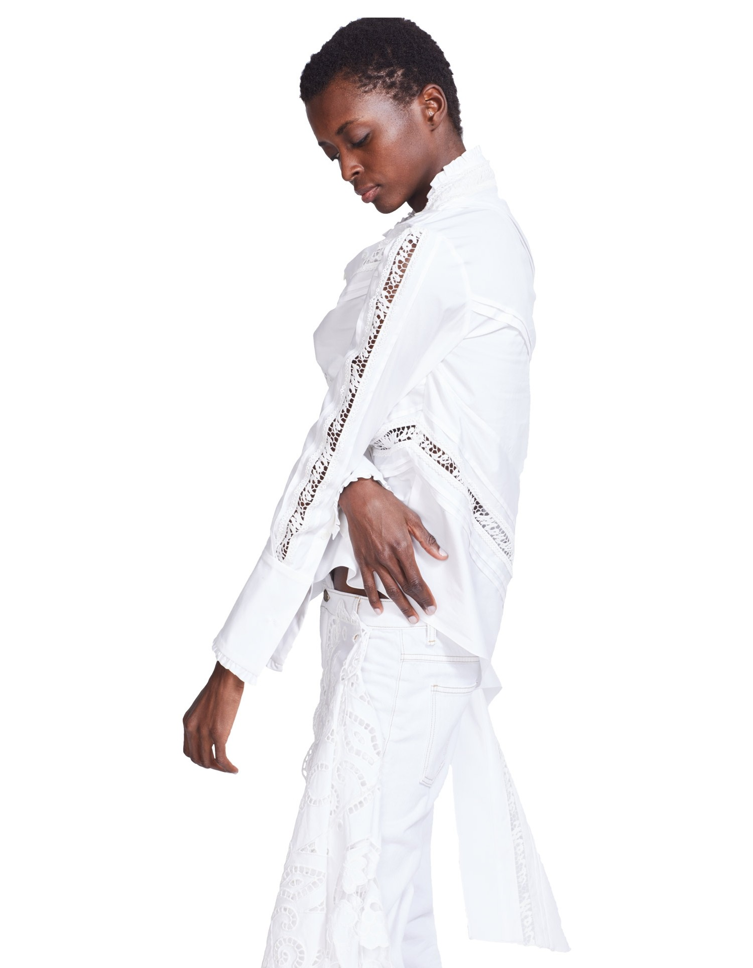 MONSE Lace Twist Shirt on Model Side View