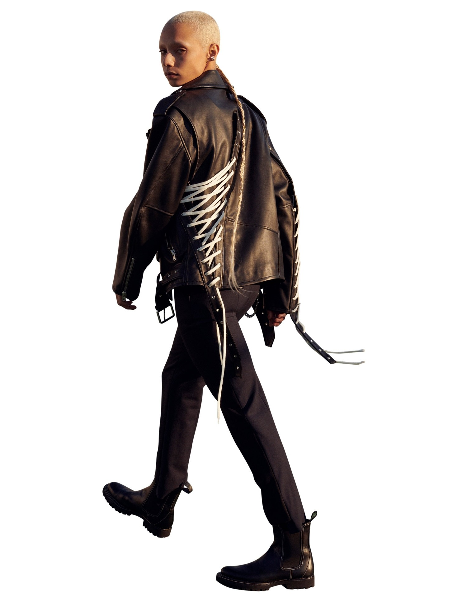 MONSE Lace Up Leather Motorcycle Jacket in Black on Model Walking Back View