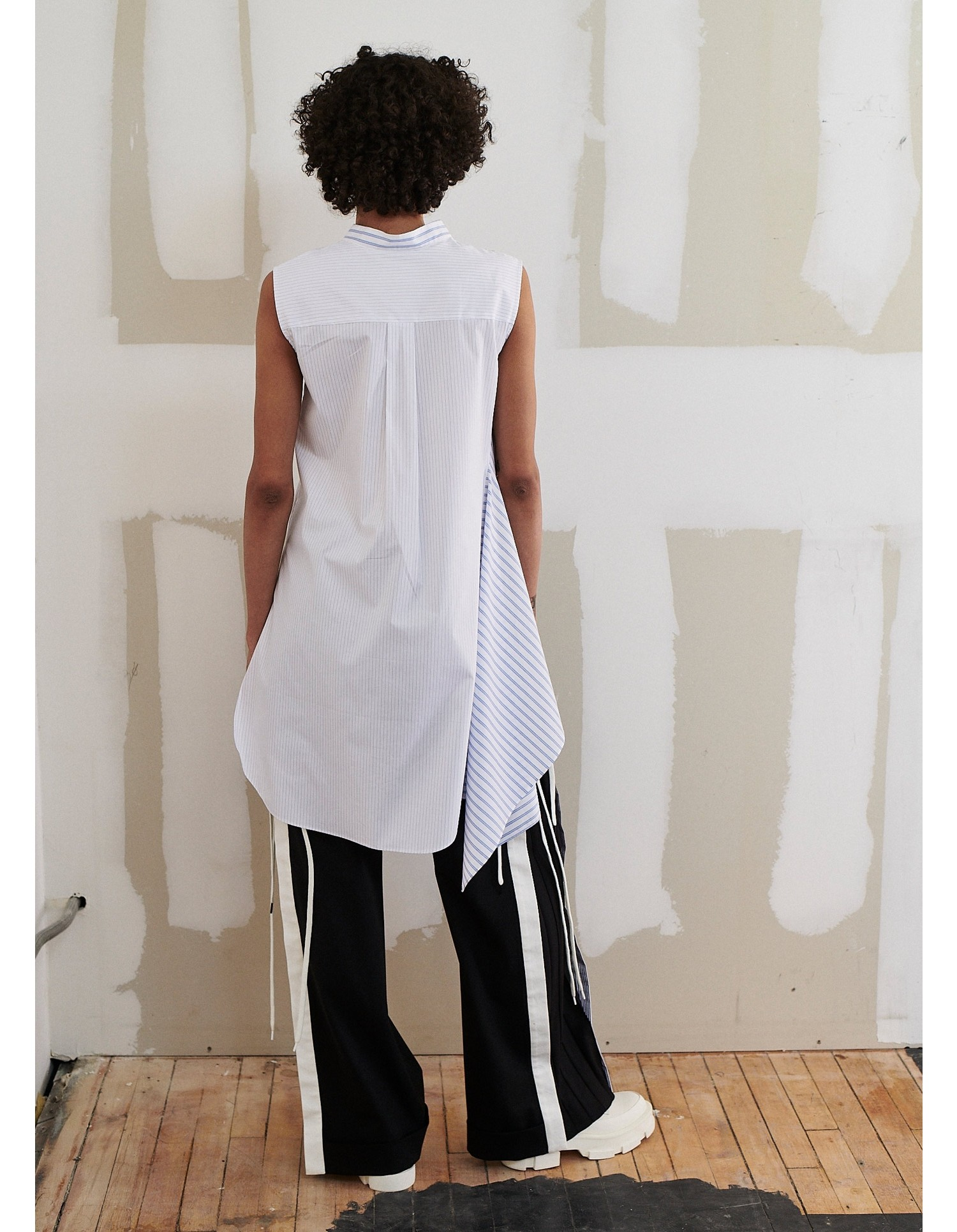MONSE Lace Up Wide Leg Trouser on Model Back View