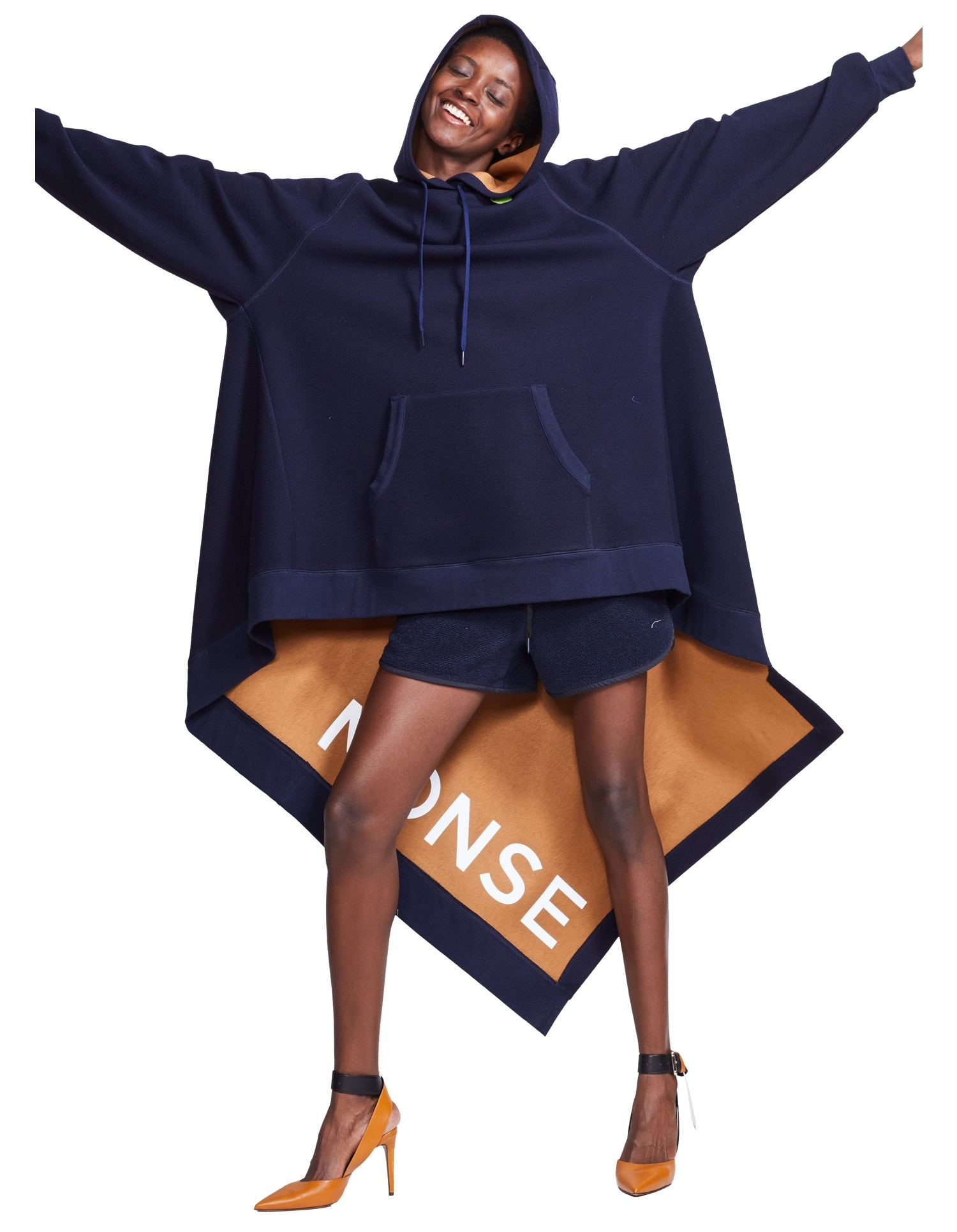 MONSE Long Asymmetrical Hoodie on Model Front View