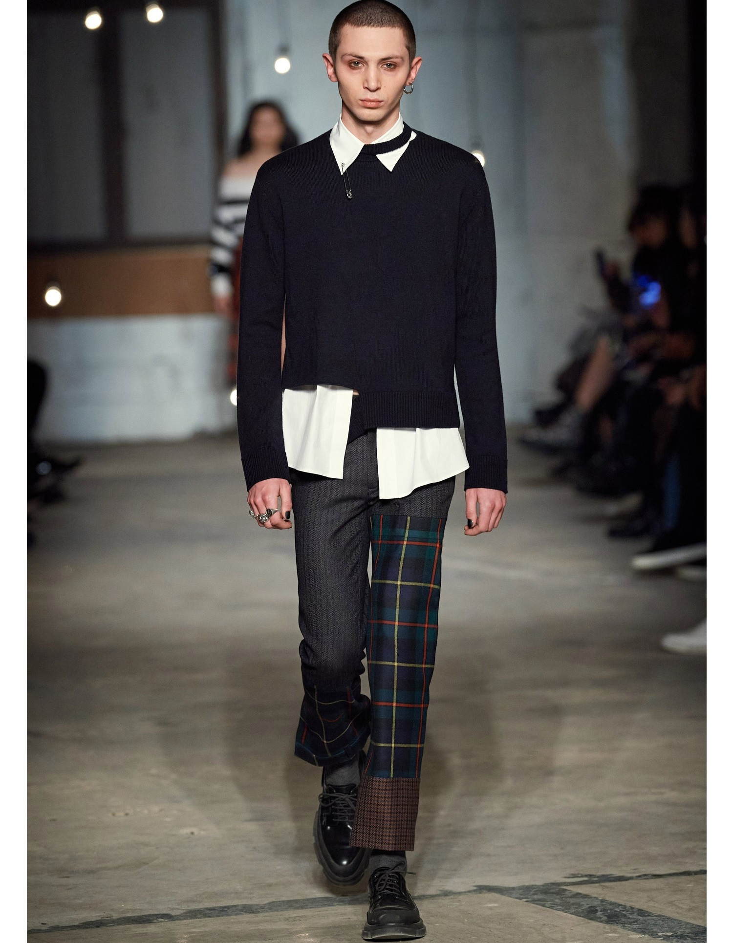 MONSE Crooked Tail Pullover in Midnight on Model Runway Look