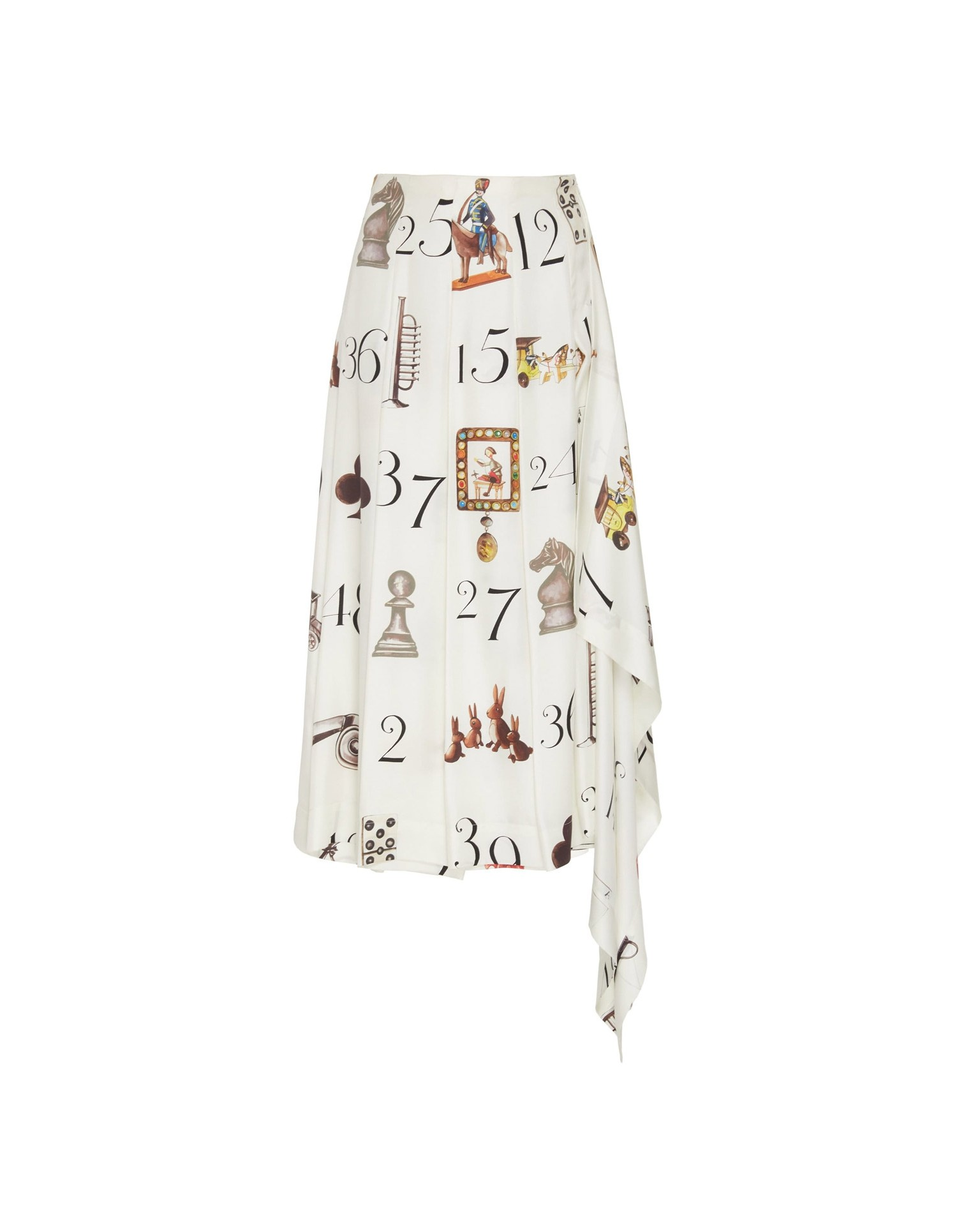 MONSE Numbers Print Pleated Skirt Flat Front