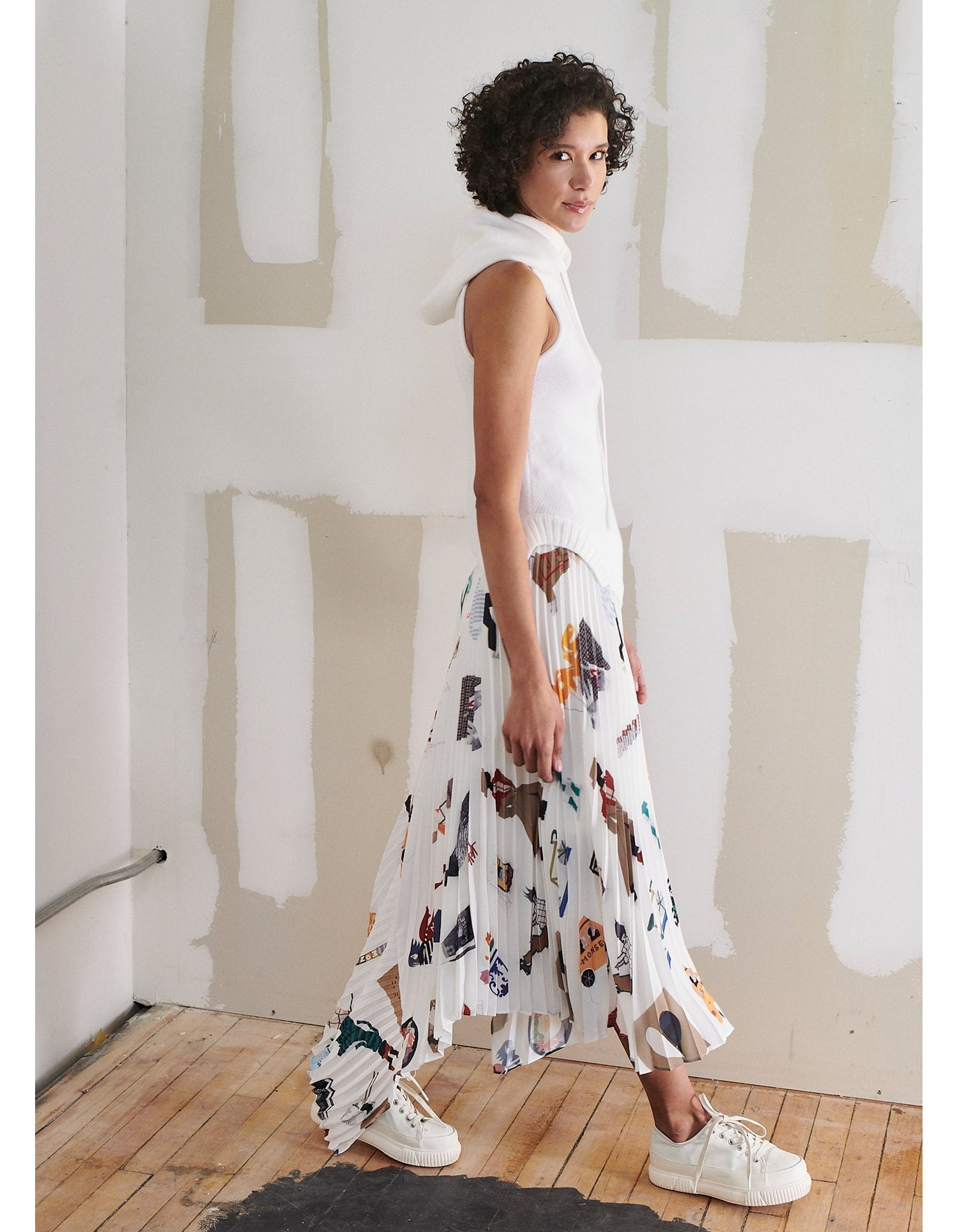 MONSE NYC Scrapbook Pleated Cascade Skirt on Model Side View