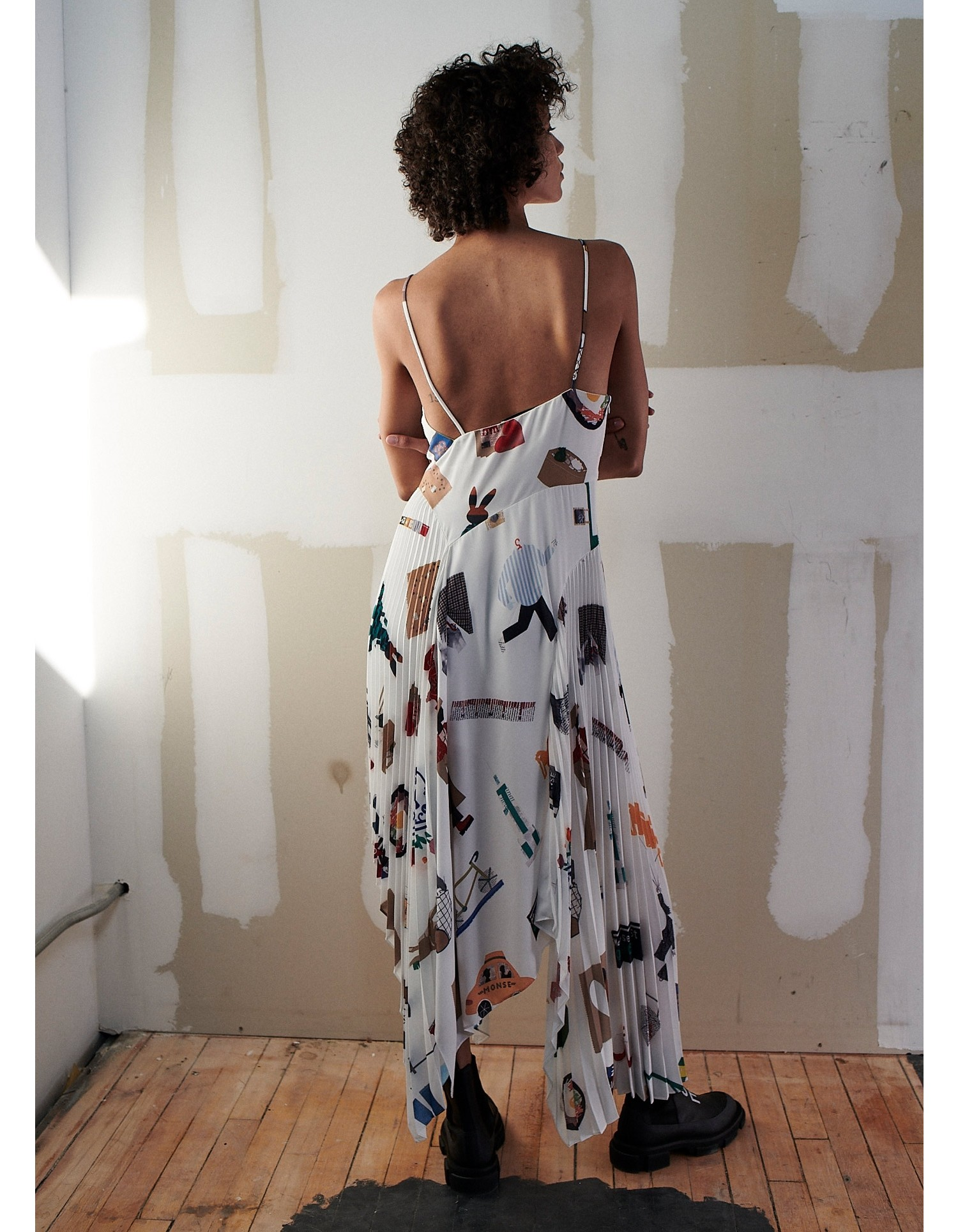 NYC Scrapbook Pleated Slip Dress on Model Back View