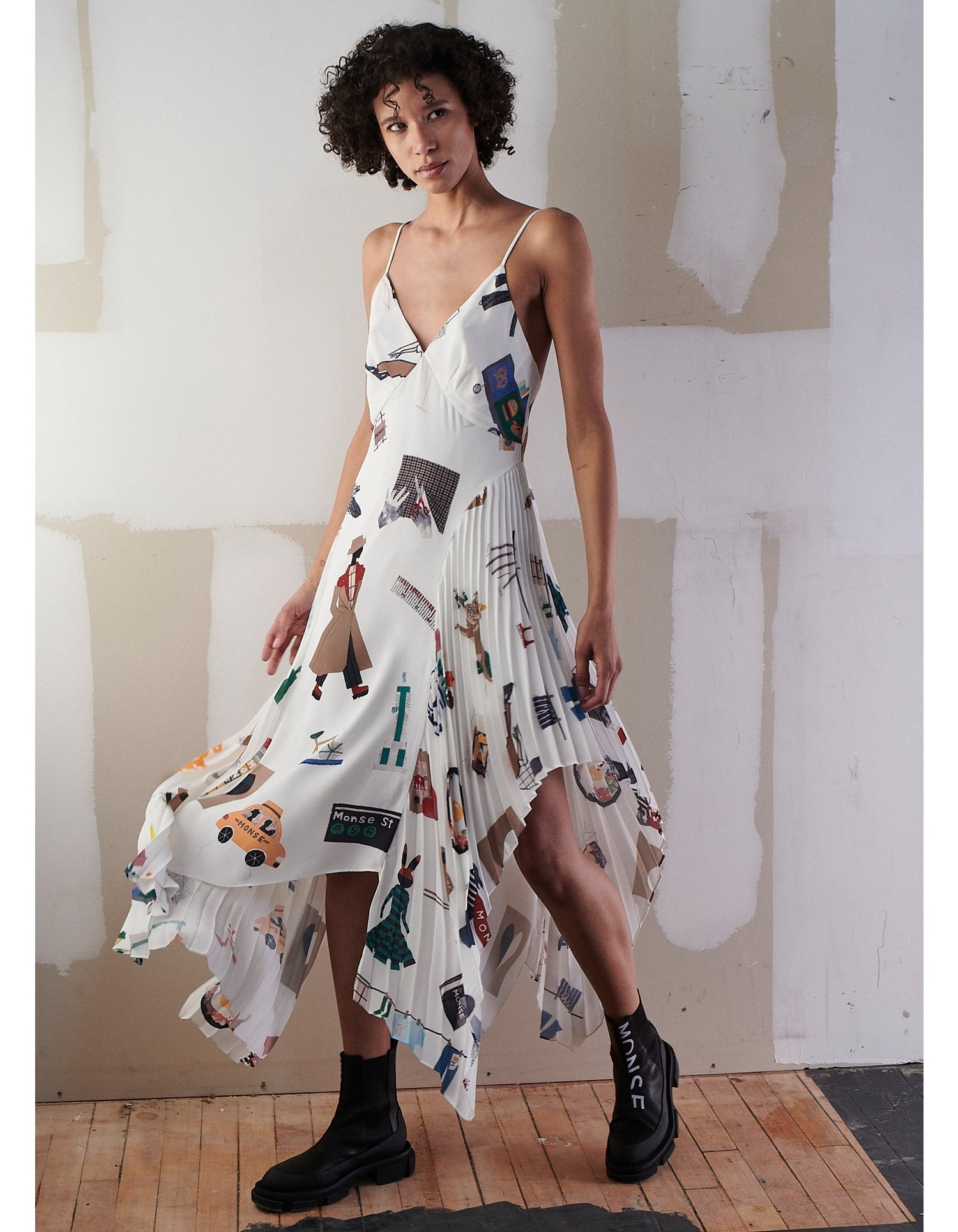 NYC Scrapbook Pleated Slip Dress on Model Front View