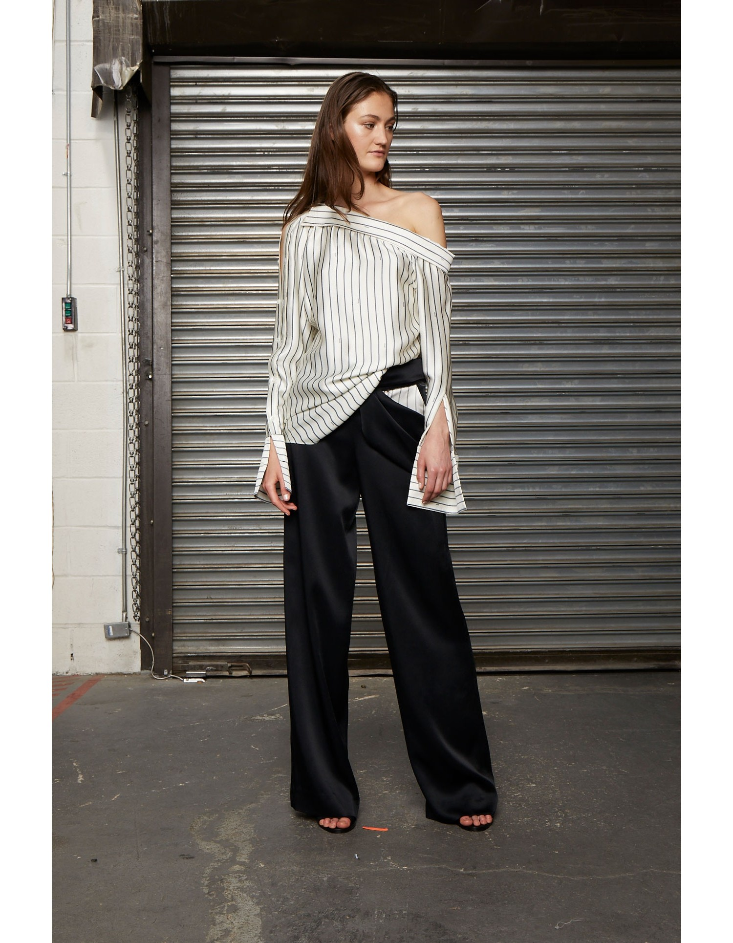 MONSE Off Shoulder Pinstripe Shirt on Model Front View