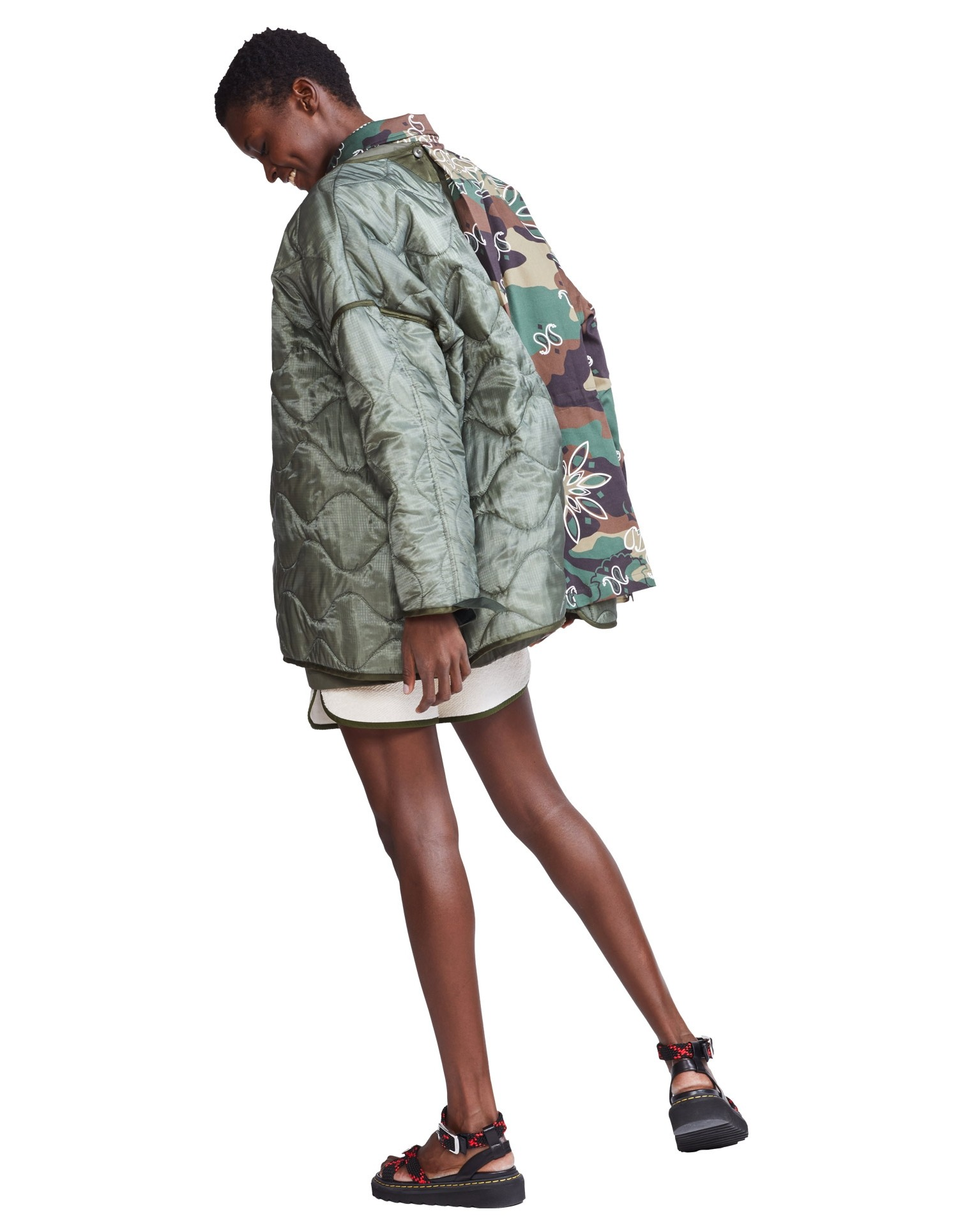 MONSE Oversized Double Camo Jacket on Model Side View