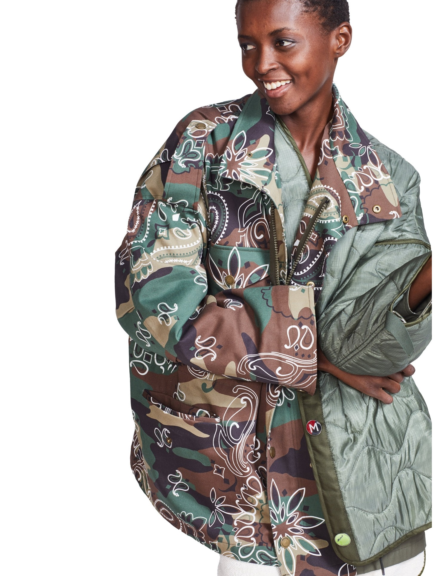 MONSE Oversized Double Camo Jacket on Model Front Detail