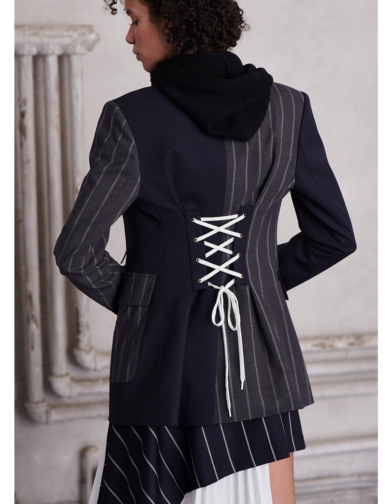 MONSE Patchwork Lace Up Jacket on Model Back View