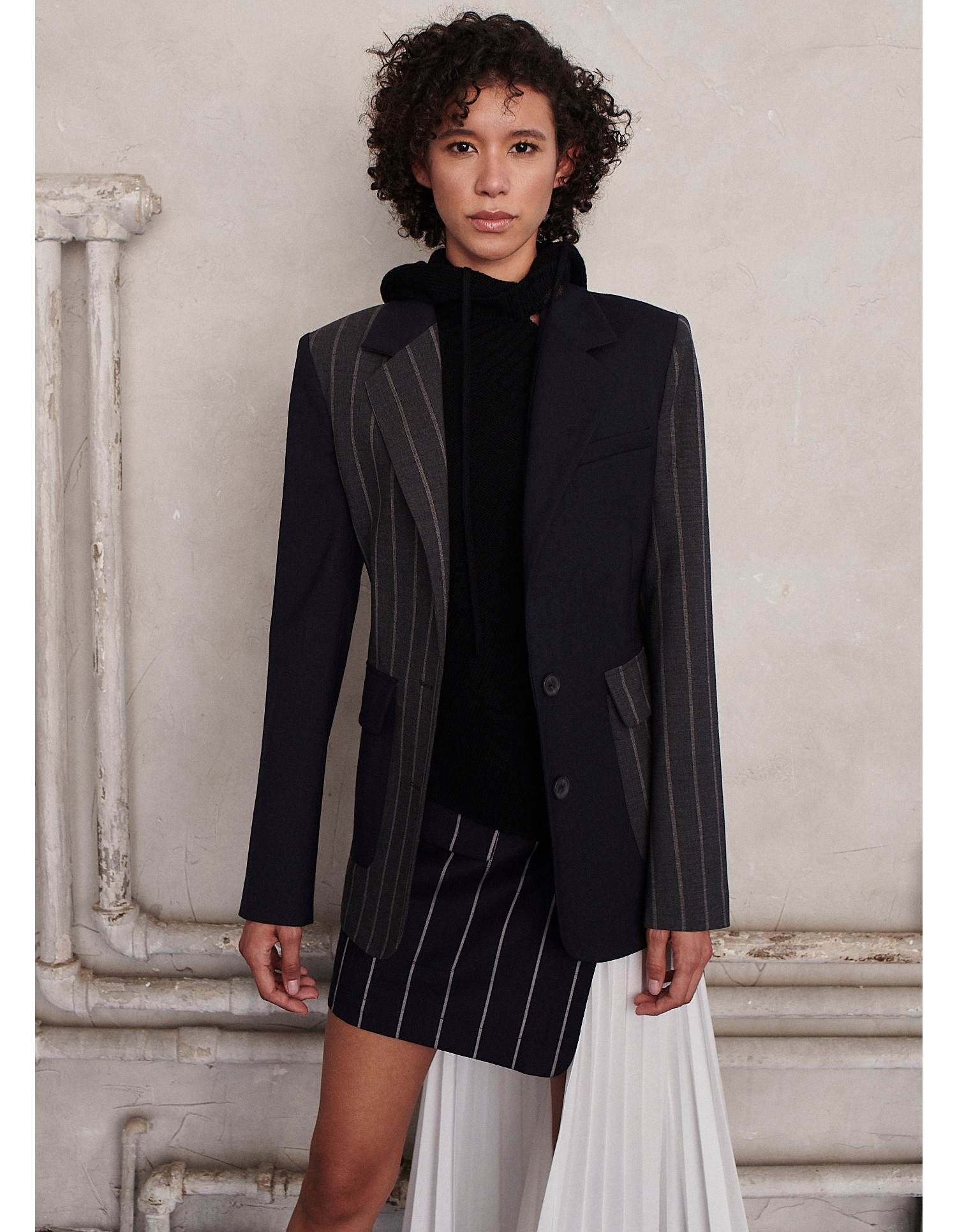 MONSE Patchwork Lace Up Jacket on Model Front View