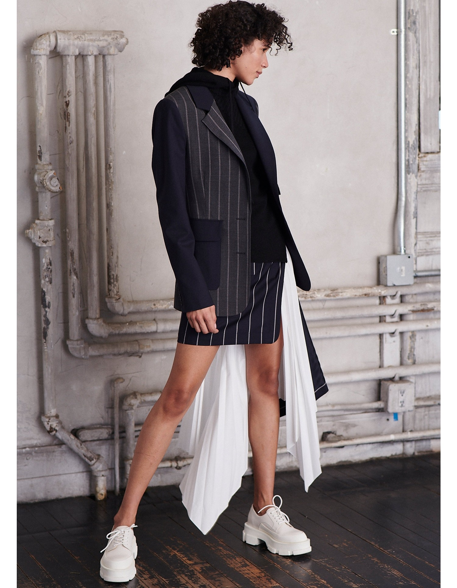 MONSE Patchwork Lace Up Jacket on Model Side View