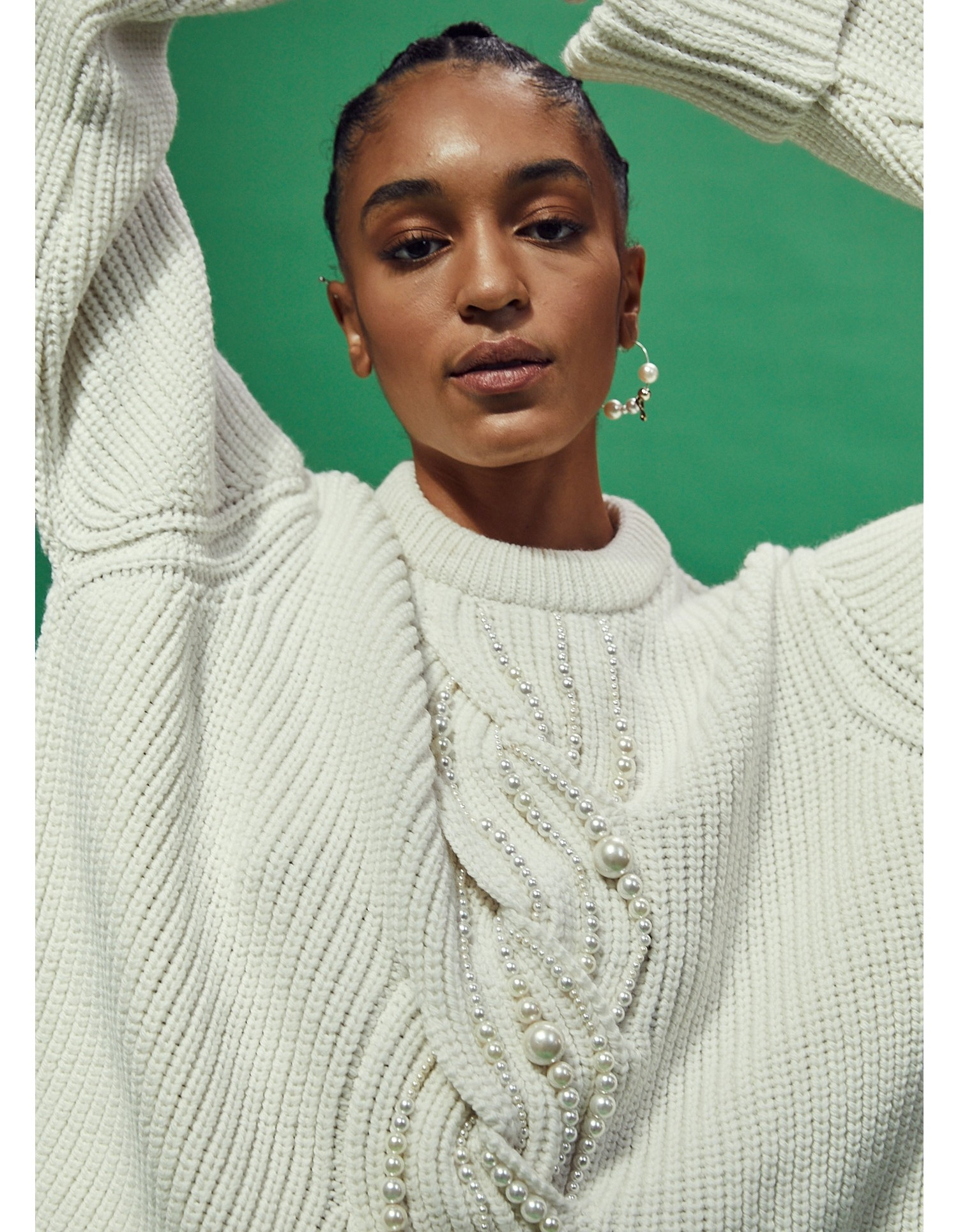 MONSE Pearl Cable Sweater in Ivory on Model Detail View