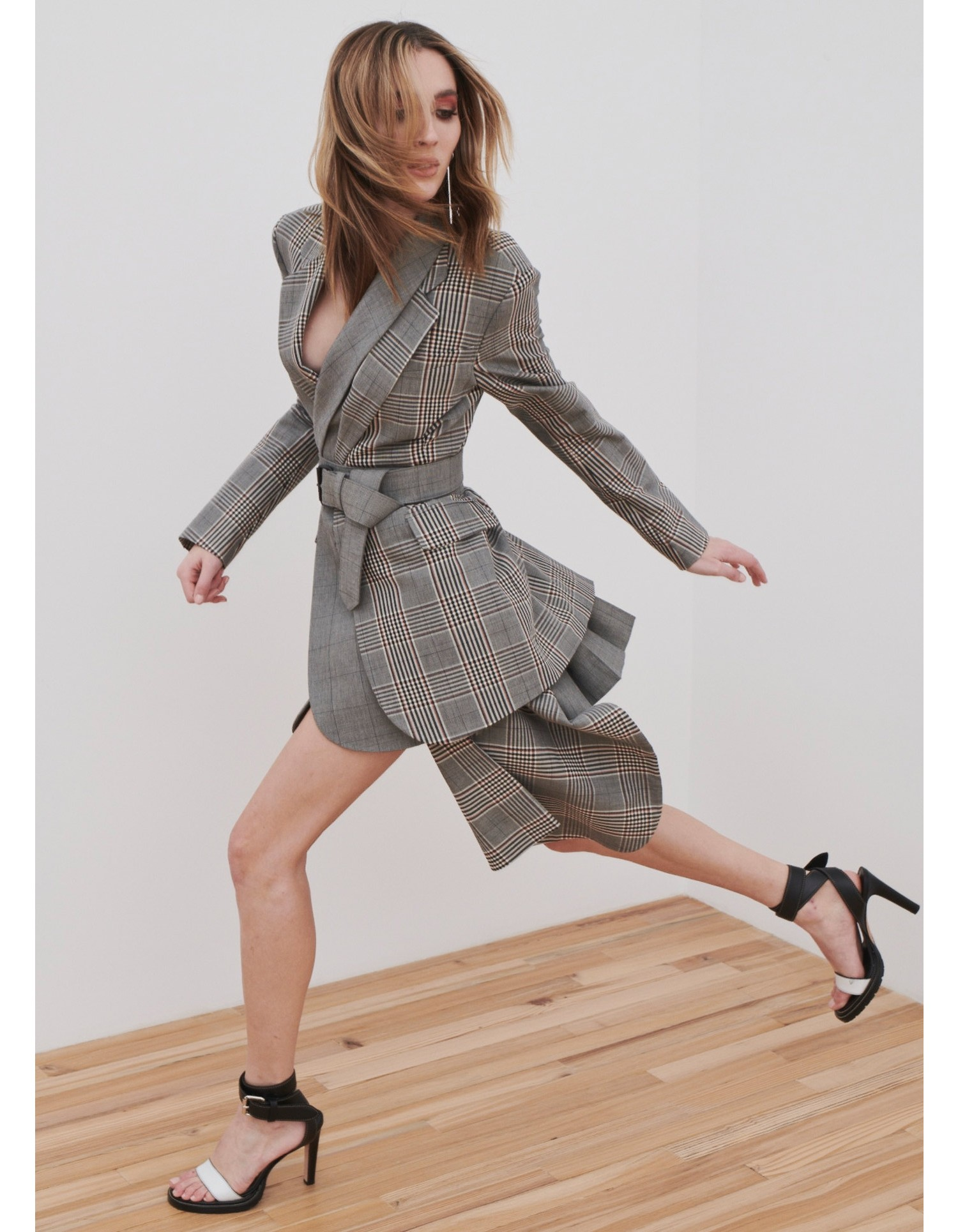 MONSE Plaid Cascade Suiting Mini Skirt on Model Running